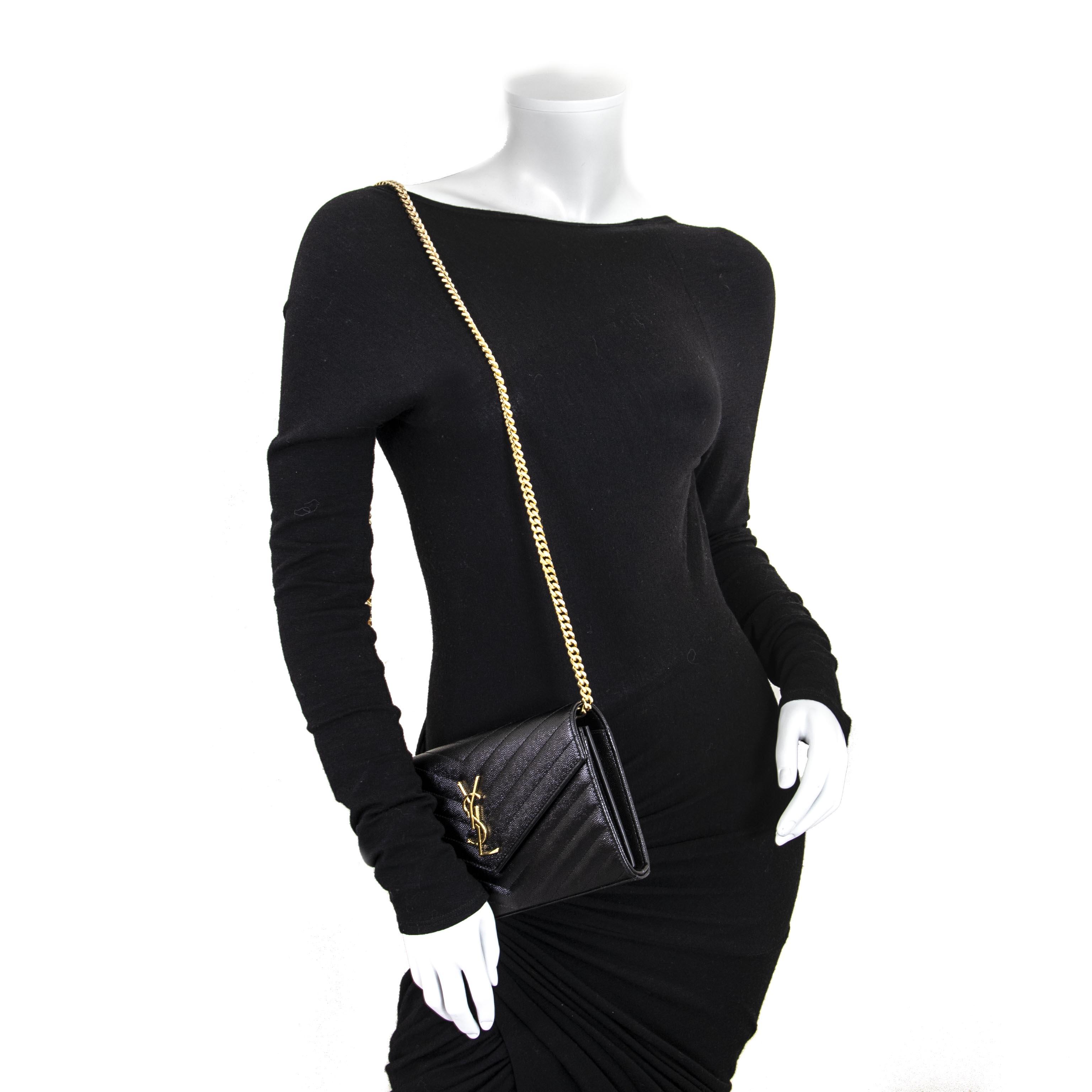 a422f521b33 ... Yves Saint Laurent Black Quilted Wallet On A Chain nu te koop bij  labellov vintage webshop