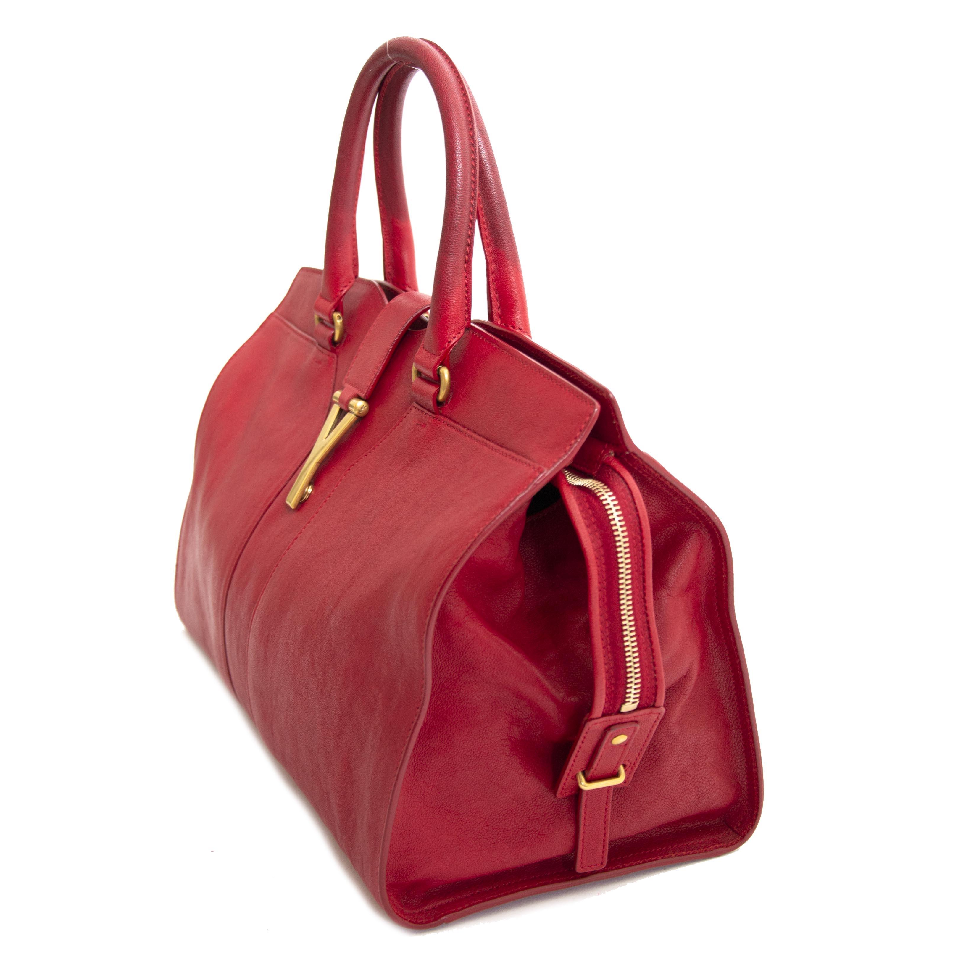 shop safe online tegen de beste prijs  Saint Laurent YSL Red Leather Medium Cabas Chyc Tote Bag
