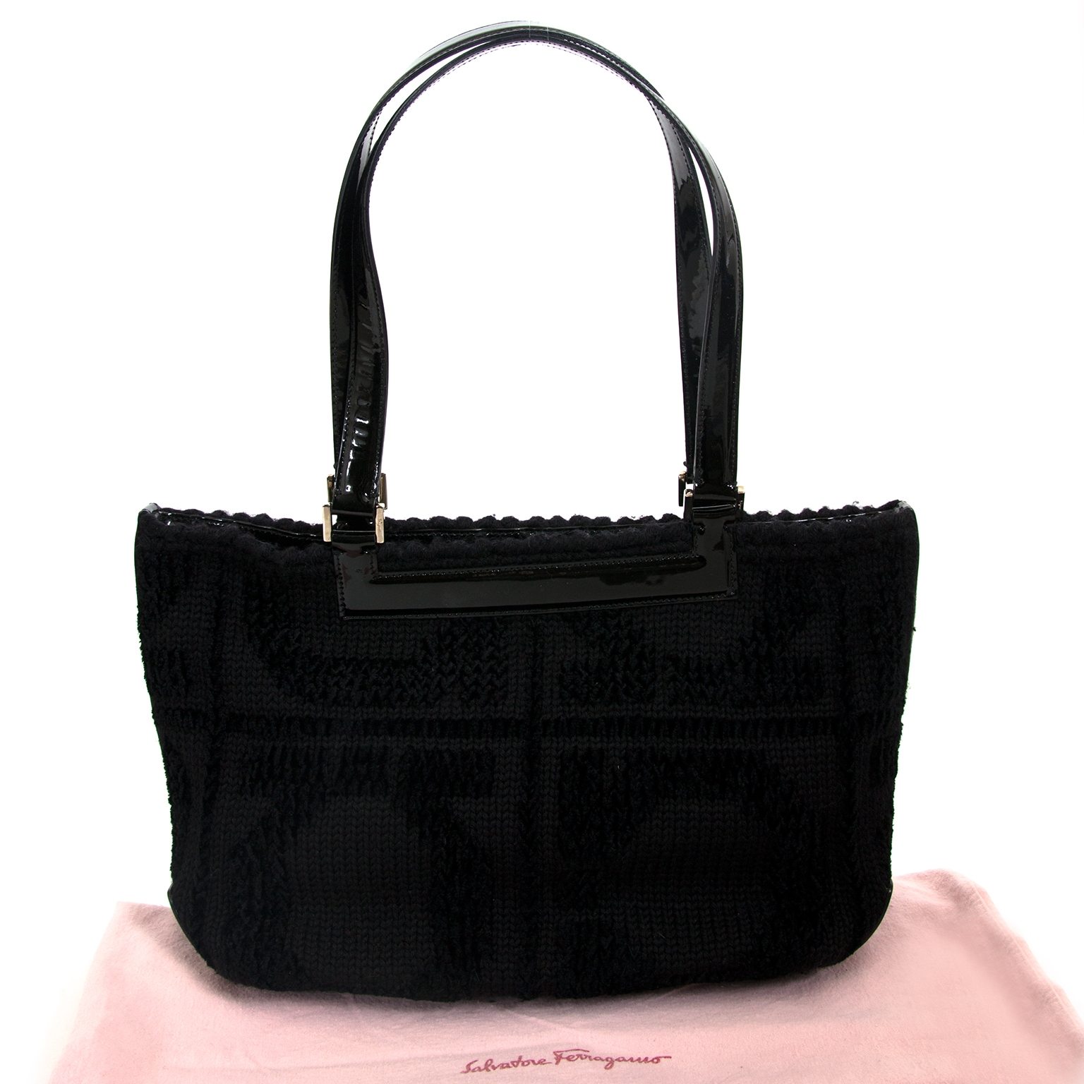 Salvatore Ferragamo Black Shoulder Bag now for sale at labellov vintage fashion webshop belgium