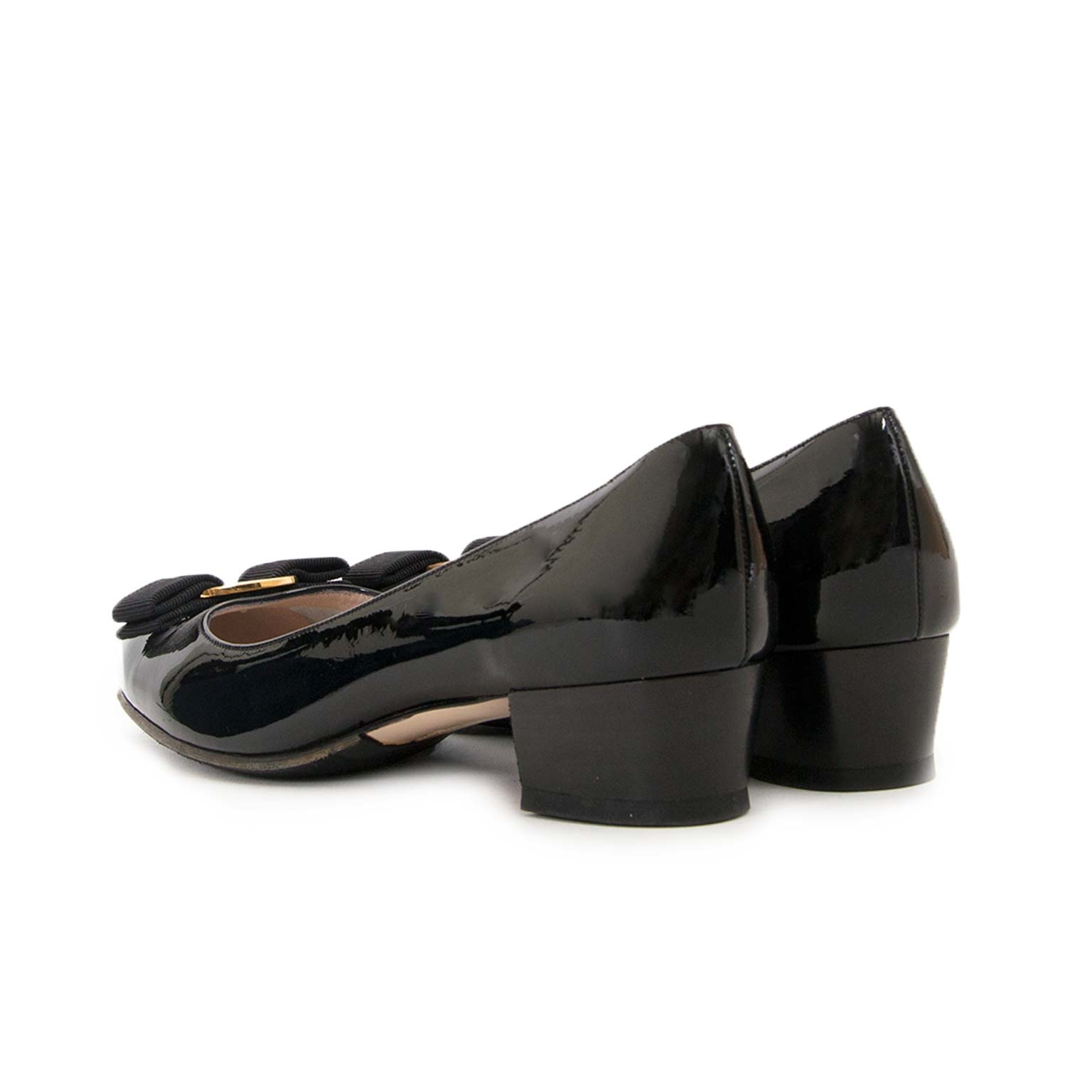 salvatore ferragamo black patent heels now for sale at labellov vintage fashion webshop belgium