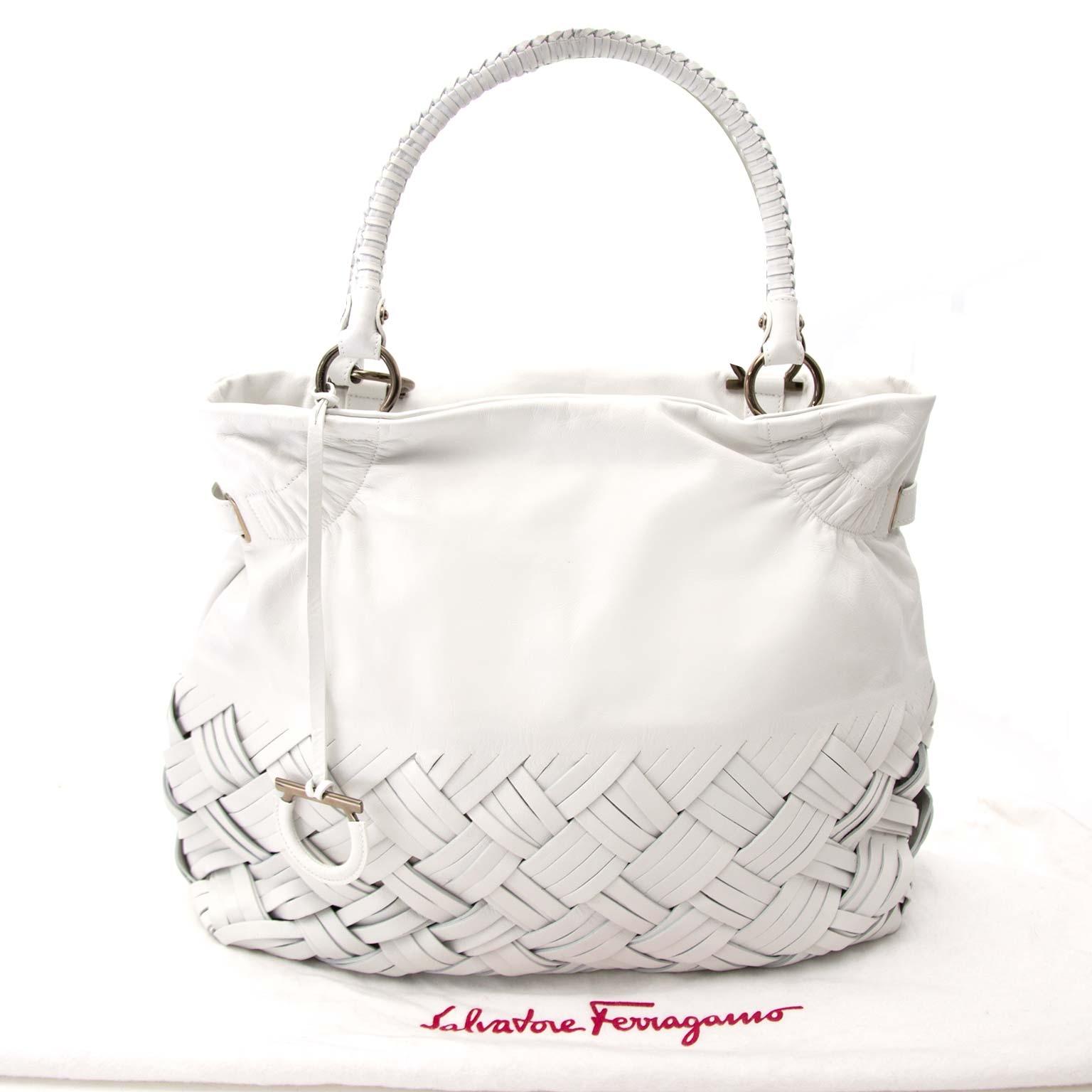 Salvatore Ferragamo White Braided Leather Shoulder Bag te koop