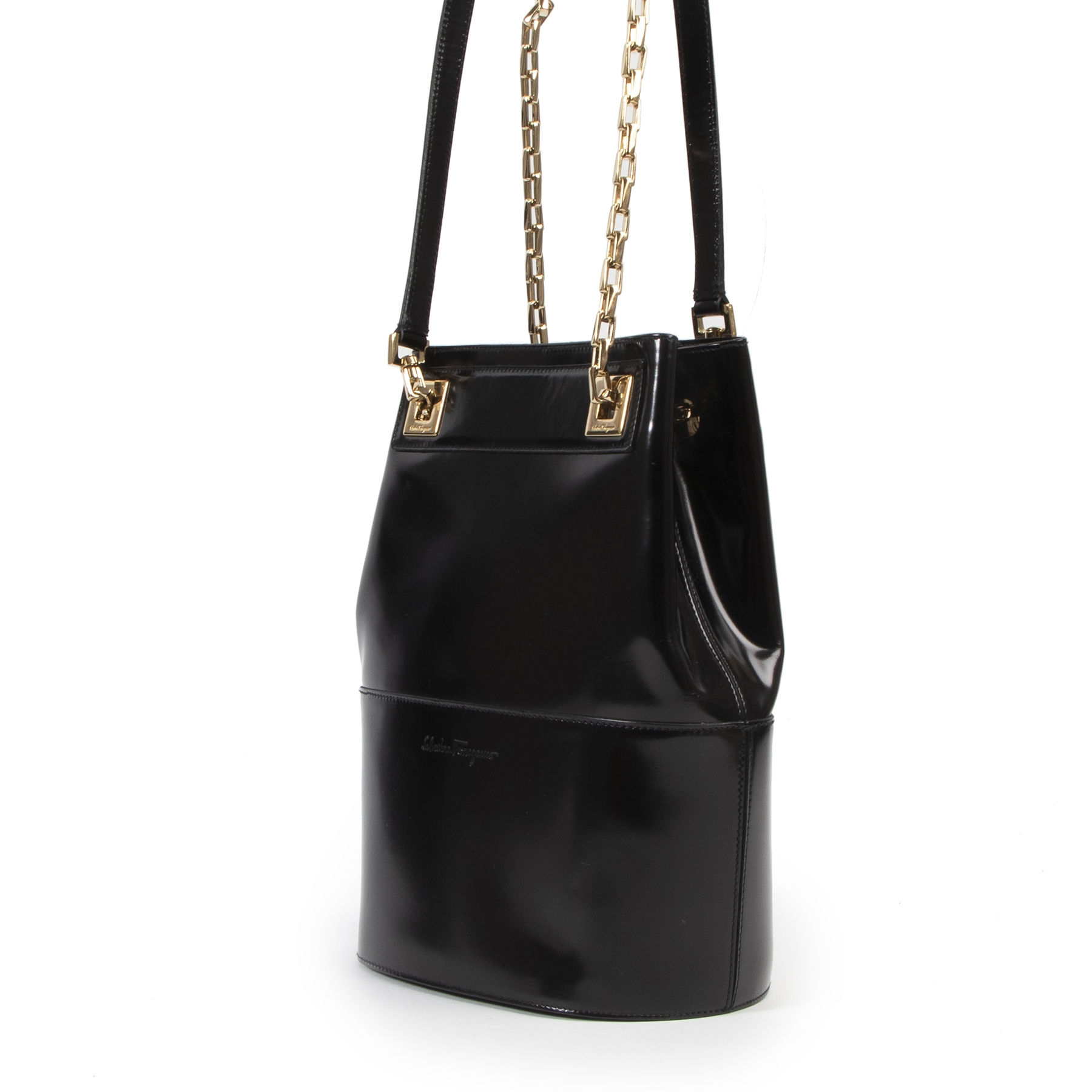 We are looking for an authentic designer Salvatore Ferragamo Black Chain Shoulder Bag