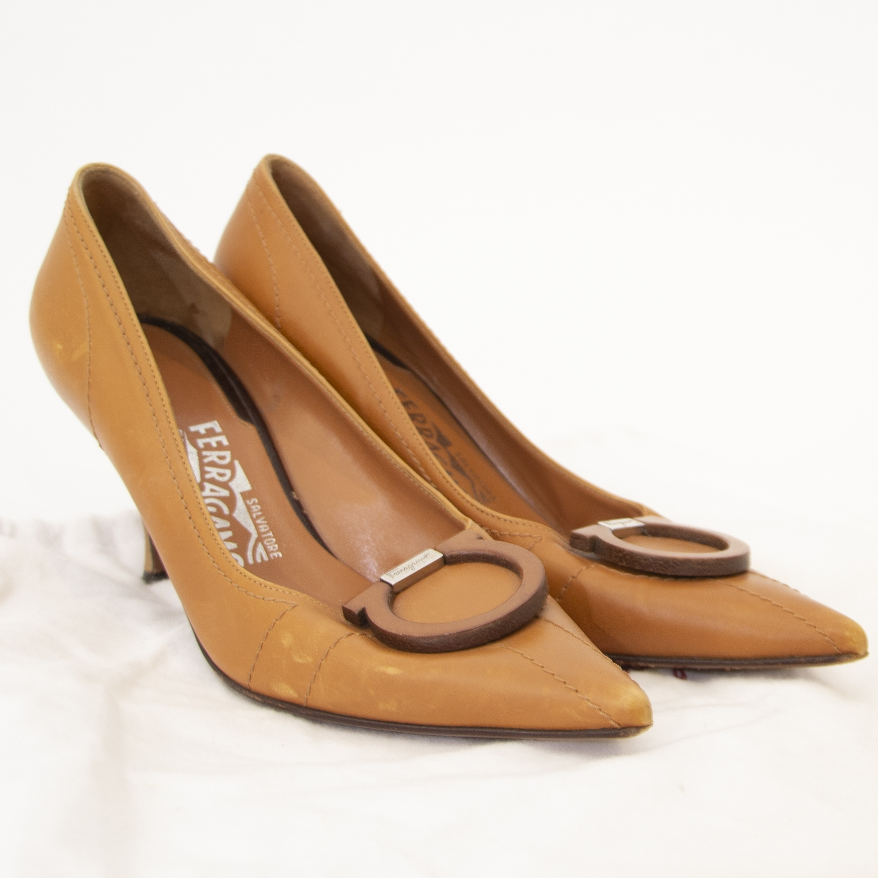 Secondhand Salvatore Ferragamo Brown Leather Heels - Size 36