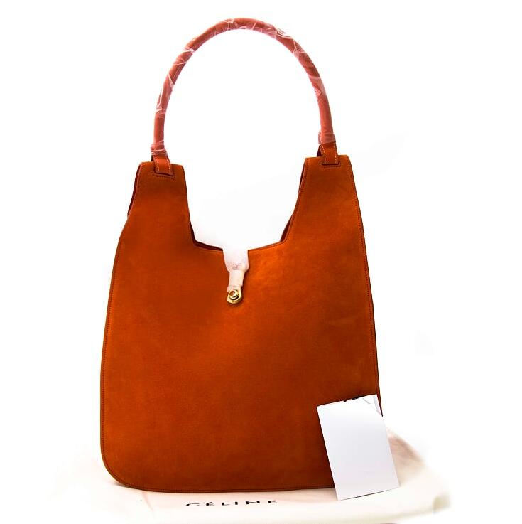 koop online tegen de beste prijs *NEVER USED* Céline Orange Suède Hobo Hook Bag