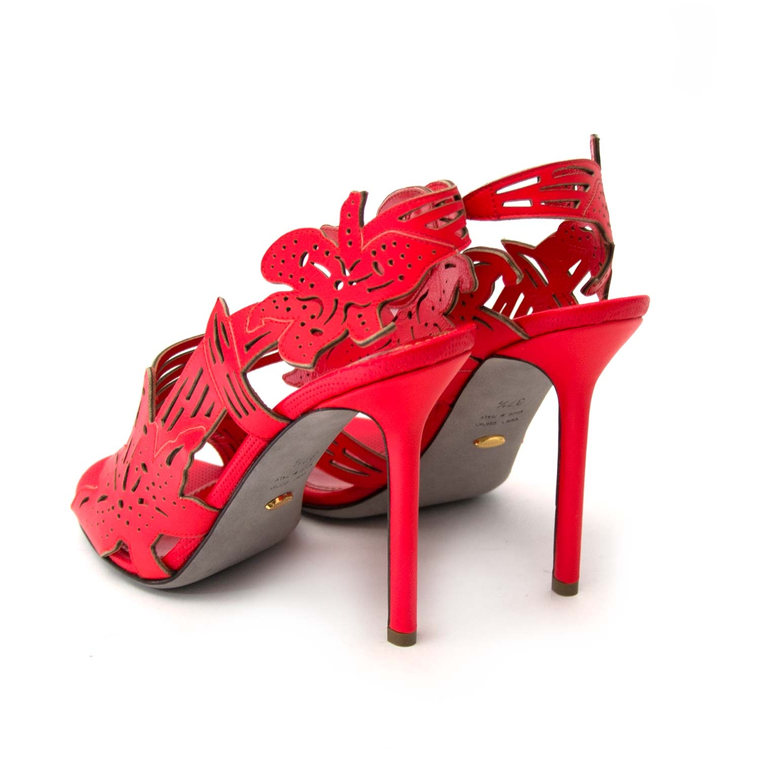 Sergio Rossi Coral Red Cut-Out Sandals te koop