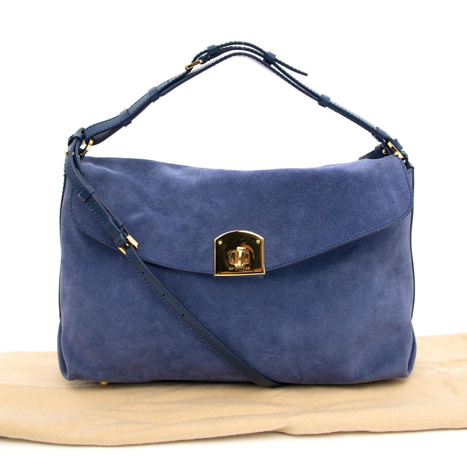 shop safe onilne at the best price you secondhand luxury Sergio Rossi Blue Shoulder Bag
