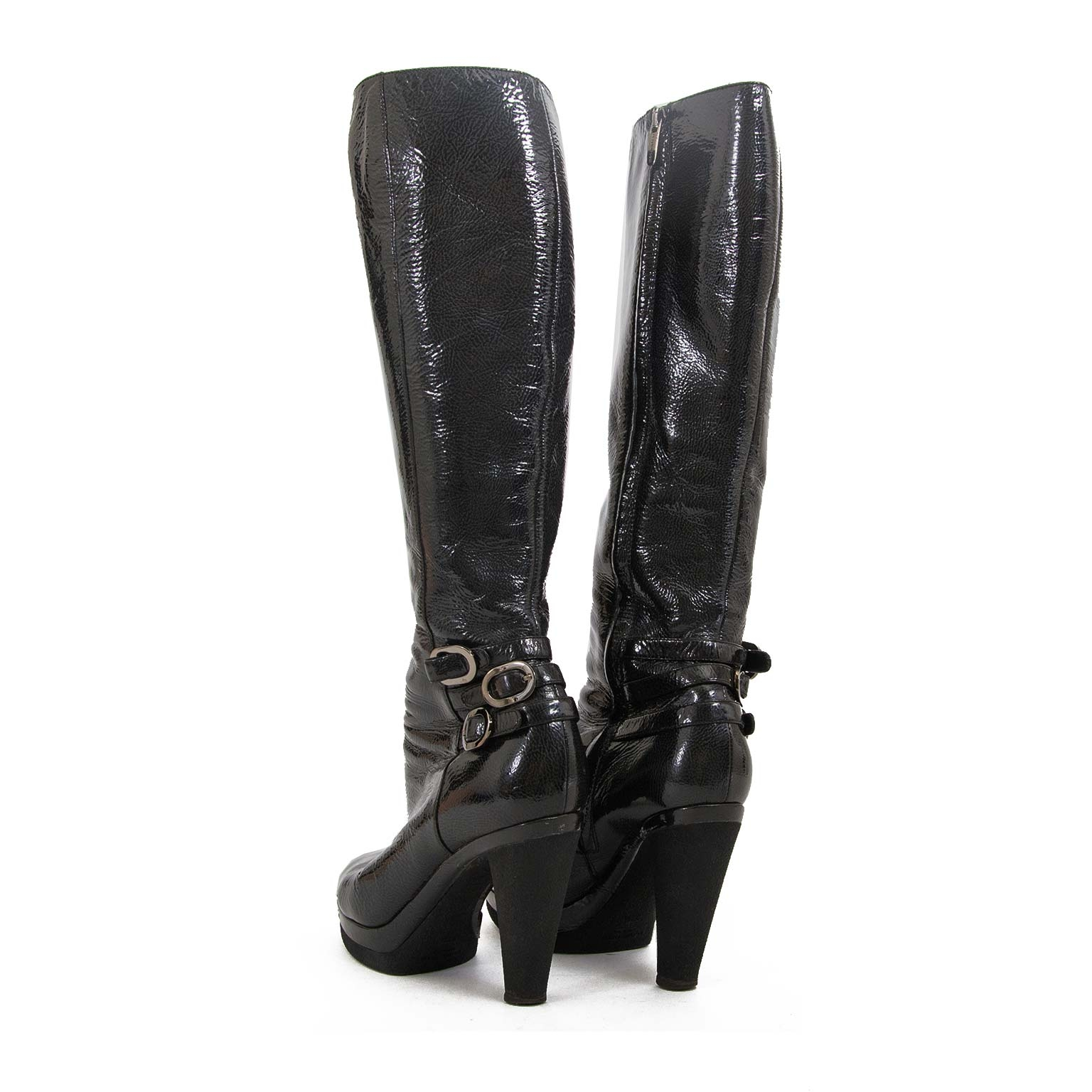 buy Sergio Rossi Black Patent Leather Boots - SIze 37,5 at labellov for the best price