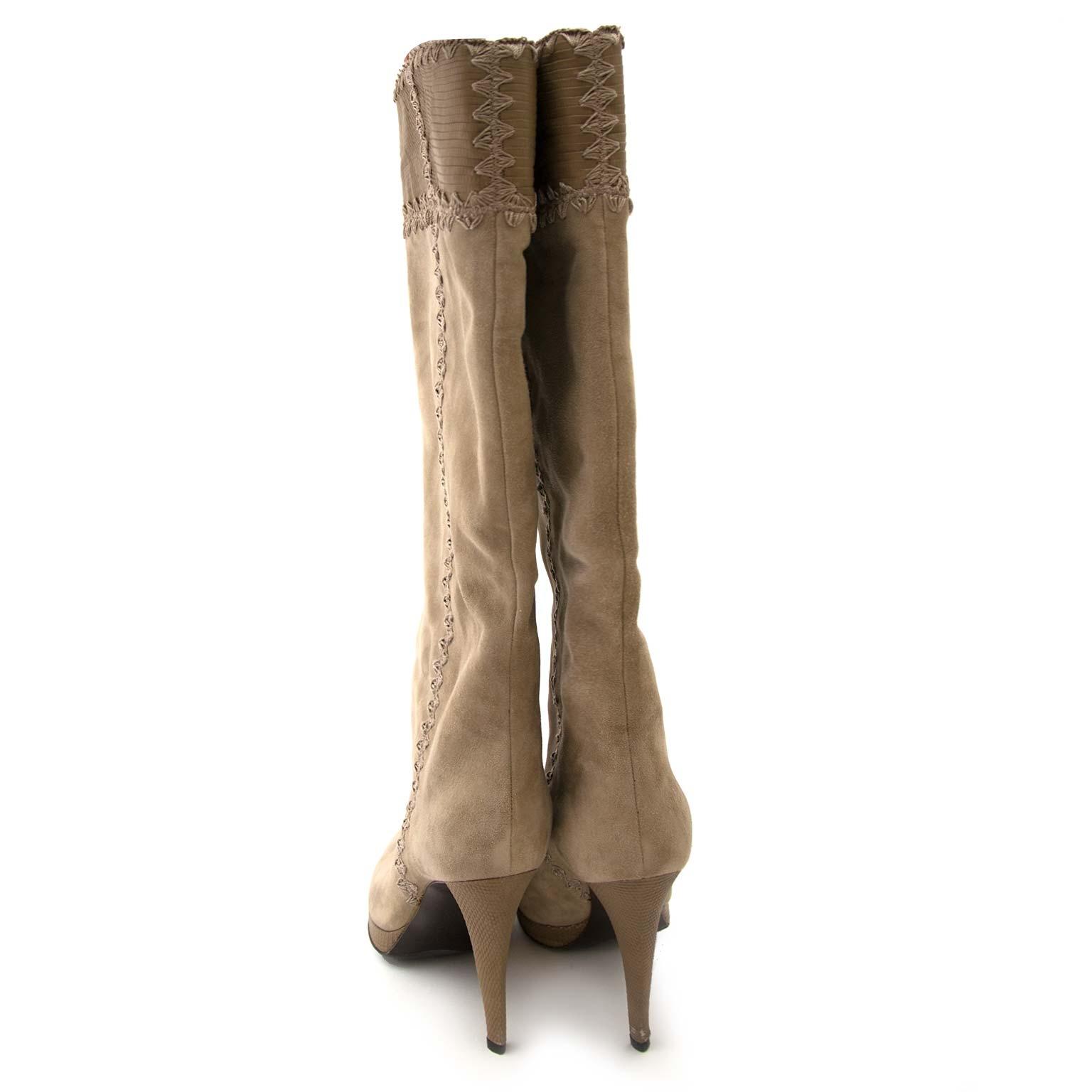 sergio rossi suede beige mid-kalf laarzen nu te koop bij labellov vintage mode webshop belgië