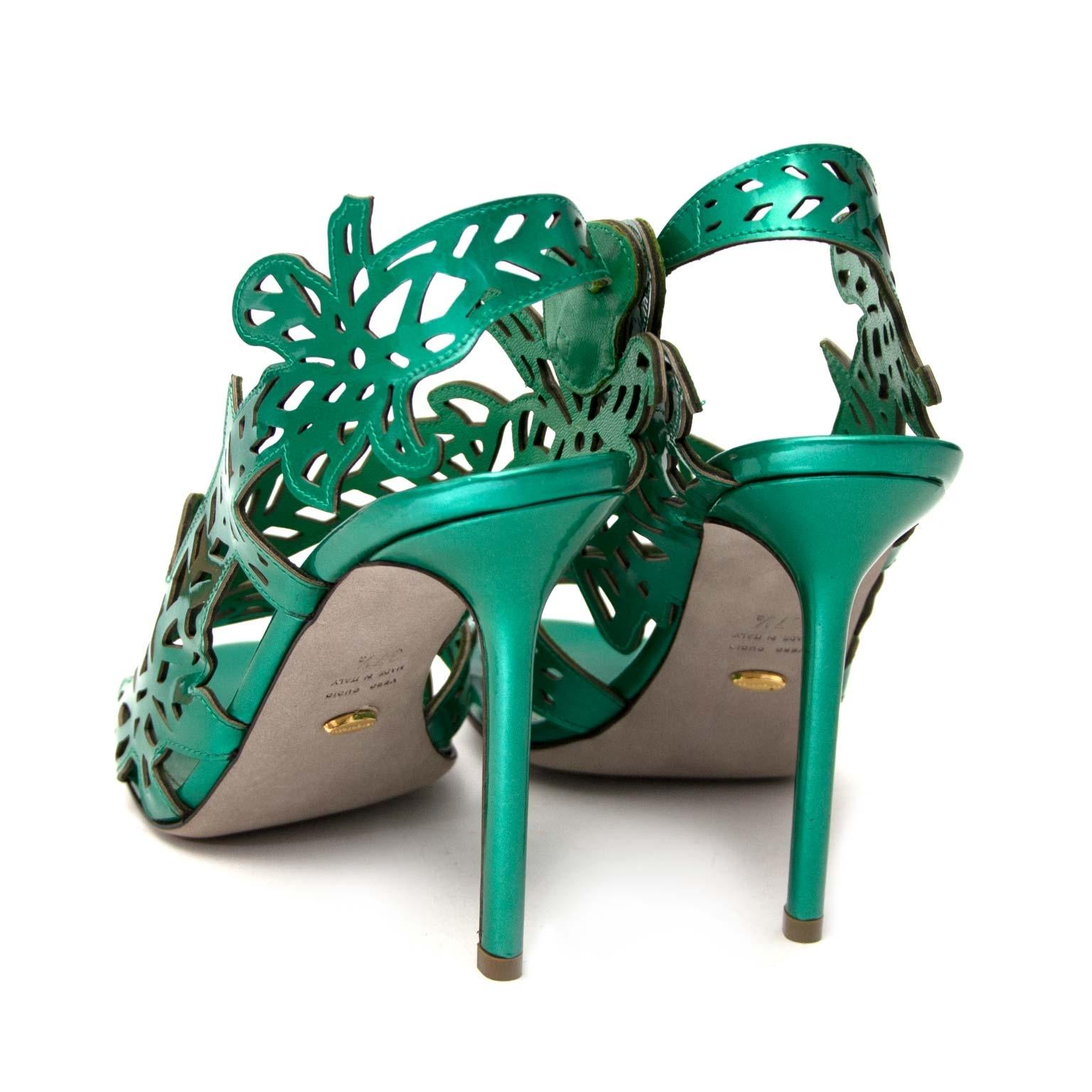 acheter en ligne pour le meilleur prix seconde main comme neuf Sergio Rossi Green Patent Cut-Out Sandals - Size 37,5