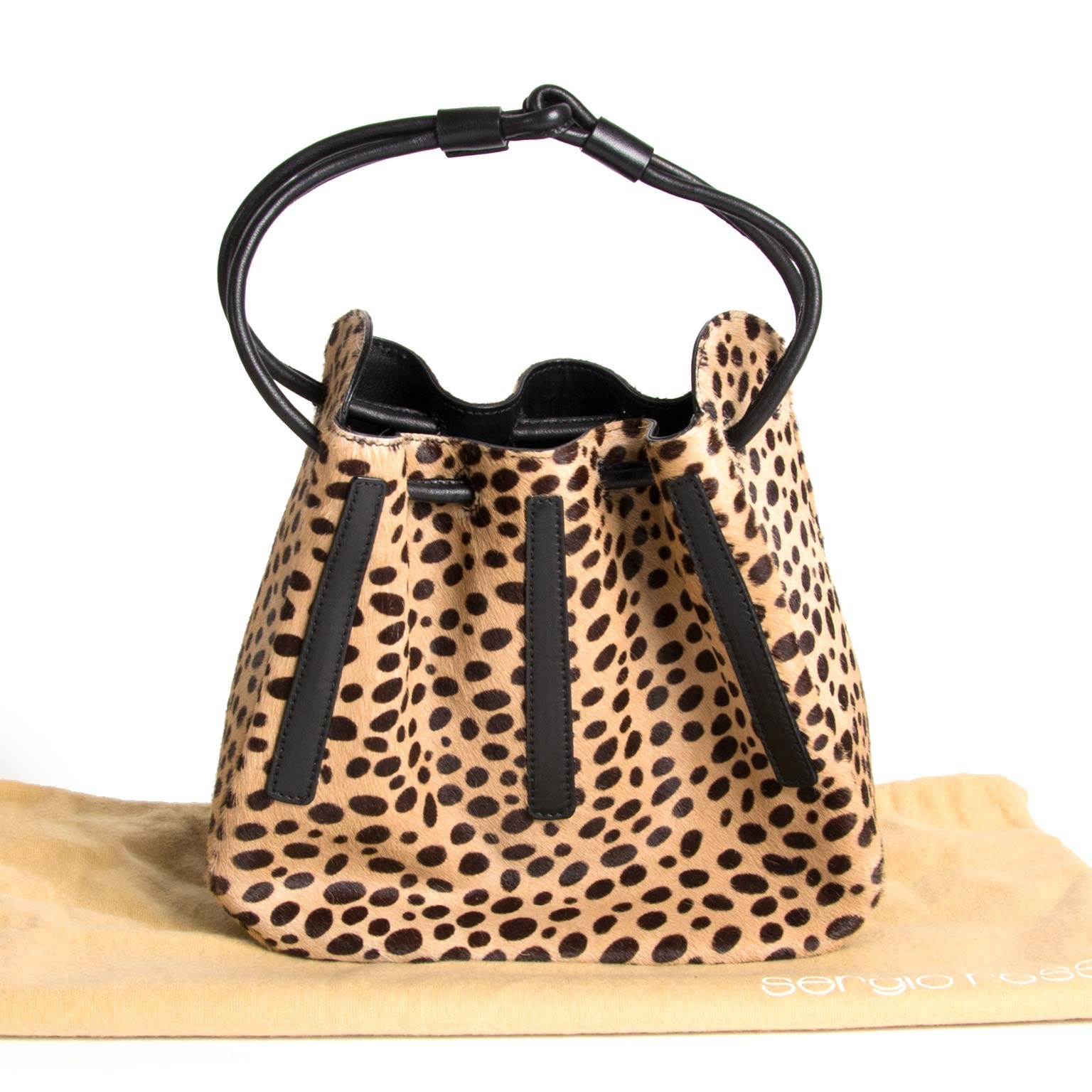sergio rossi ponyhair bucket drawstring animal print bag now for sale at labellov vintage fashion webshop belgium
