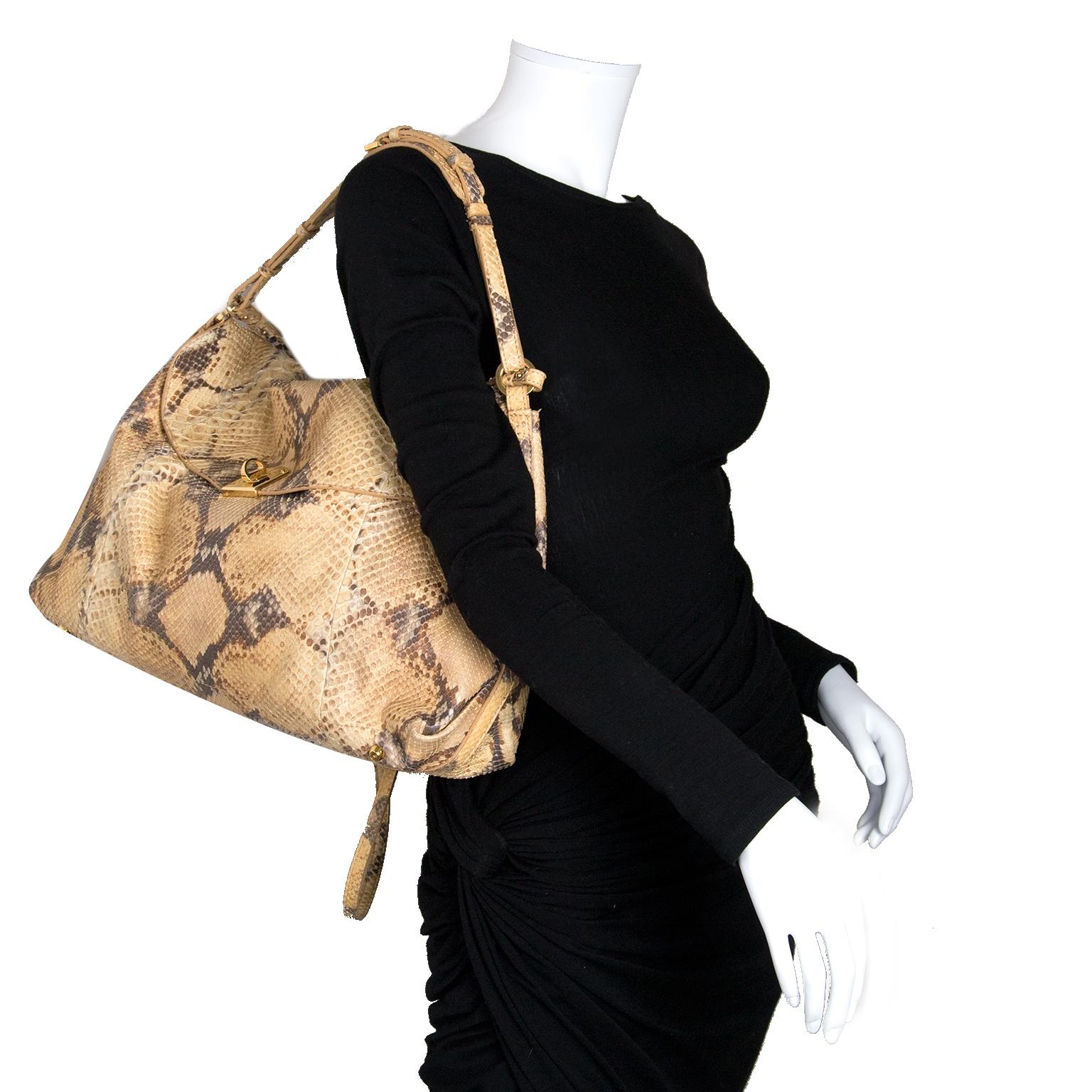 Sergio Rossi Python Leather Shoulder Bag te koop bij Labellov