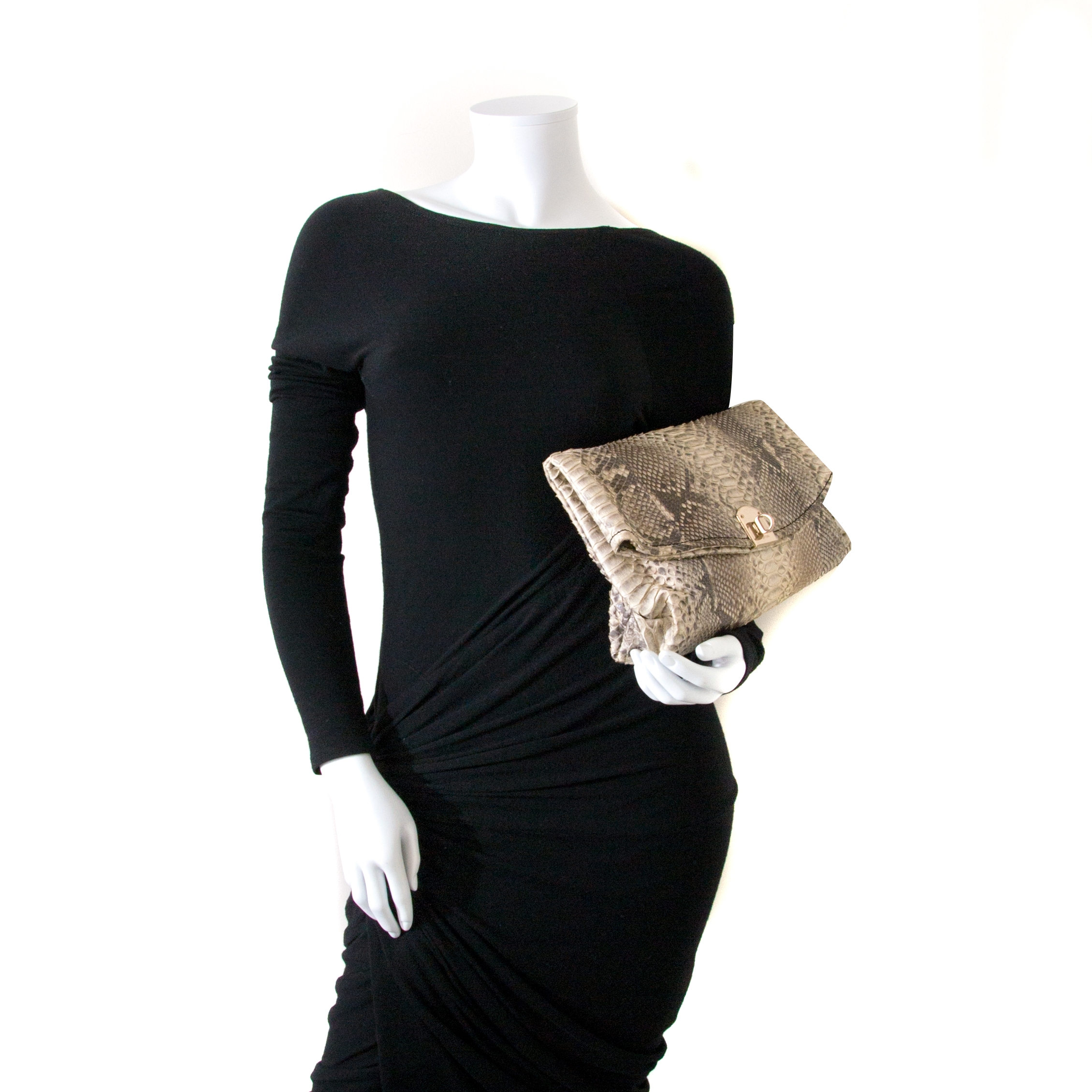 sergio rossi python leather clutch now for sale at labellov vintage fashion webshop belgium