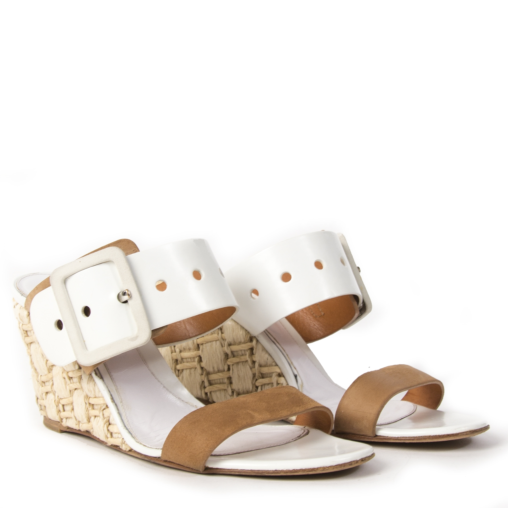 Sergio Rossi White and Camel Raffia Wedge Heels - size 38.5
