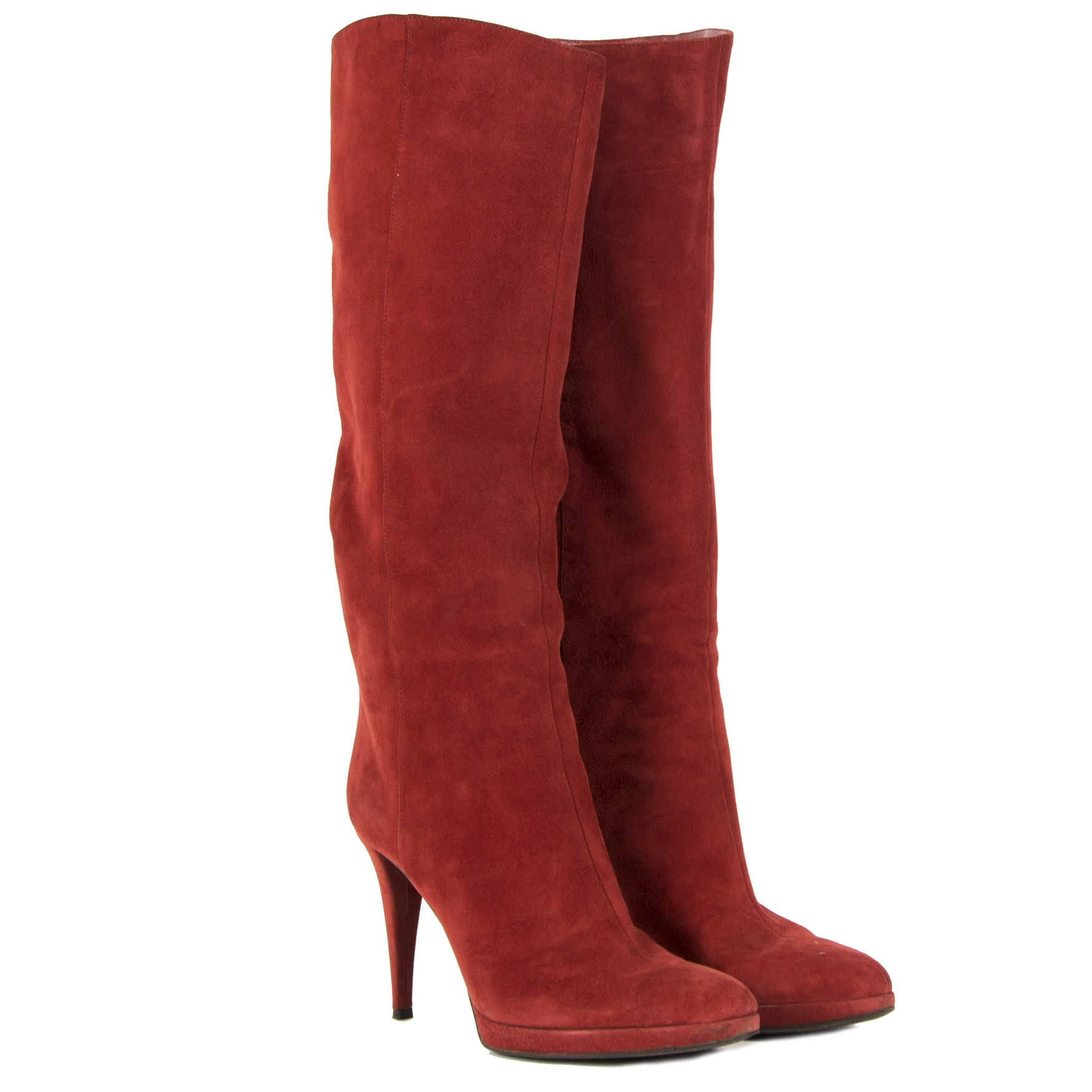 Sergio Rossi Red Suede High Boots - Size 41