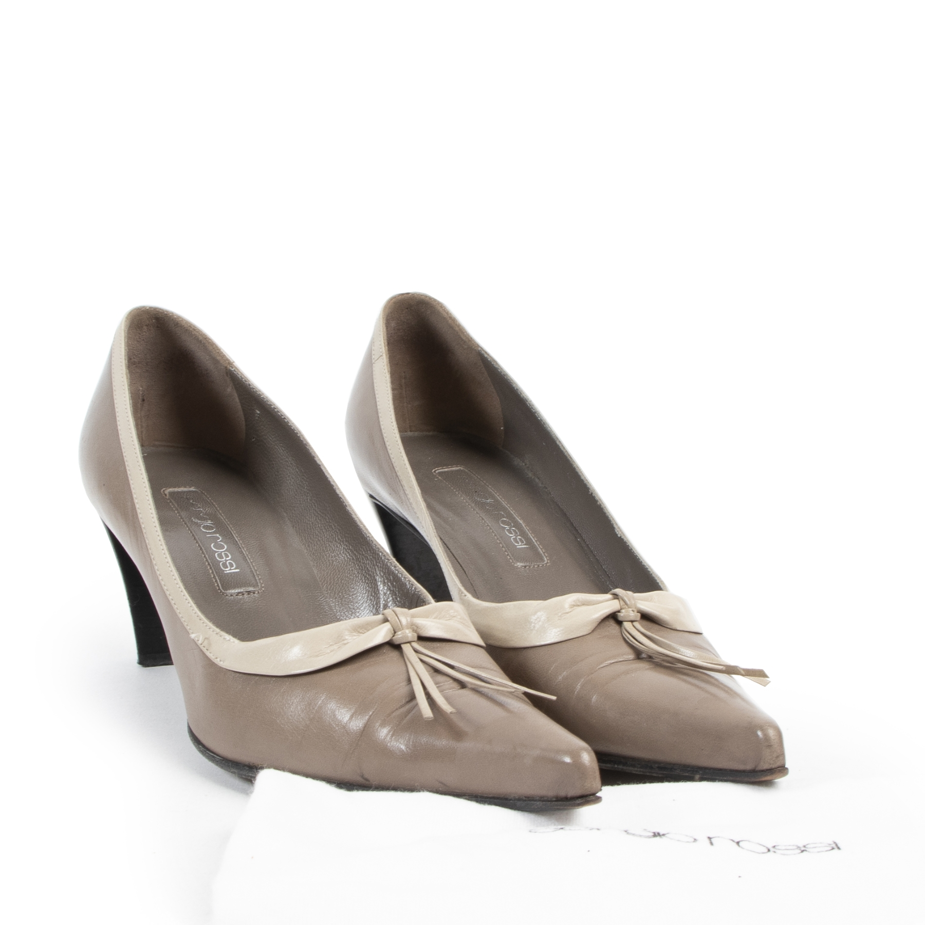 Sergio Rossi Taupe Leather Heels - Size 40
