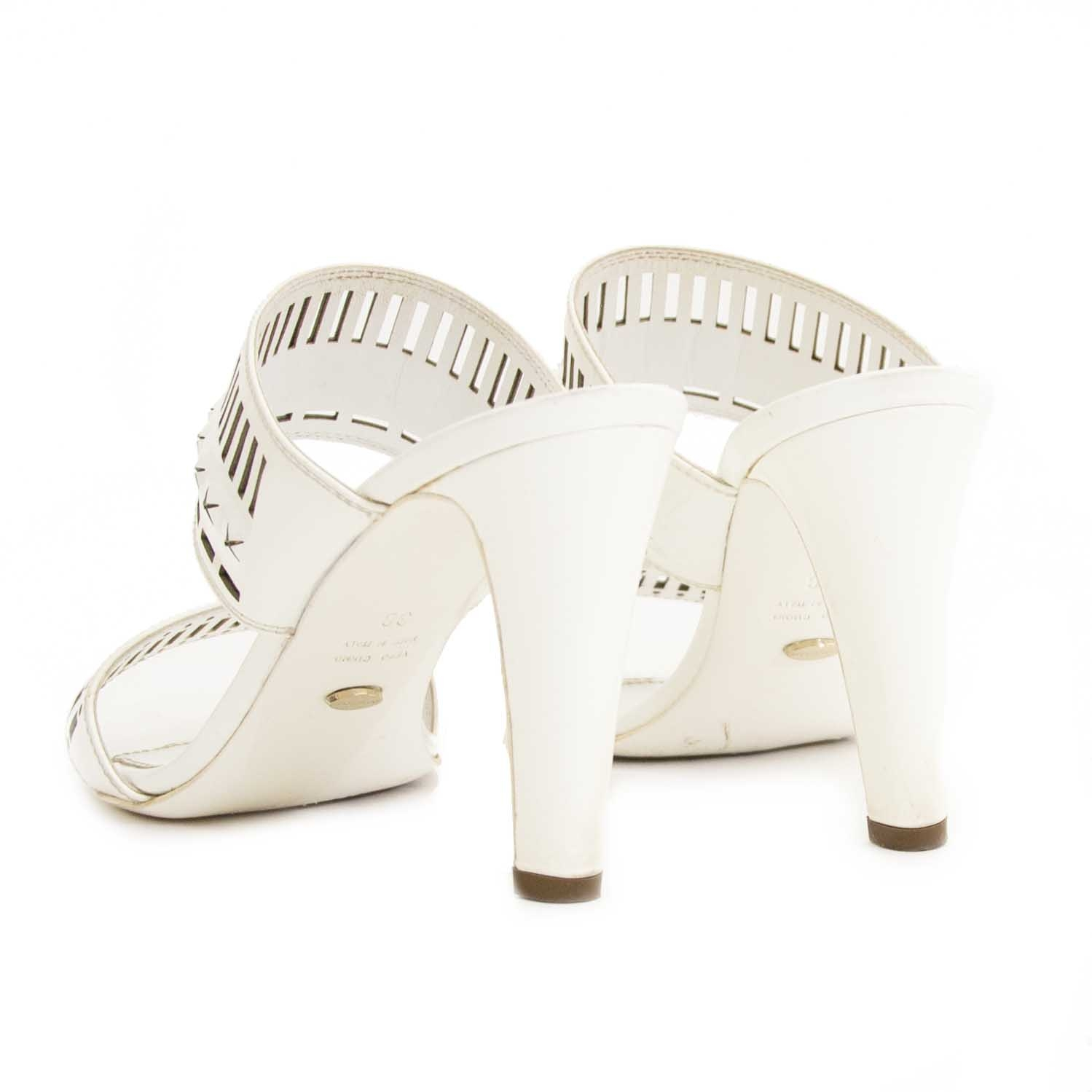 Sergio Rossi White Sandal Heels - Size 38