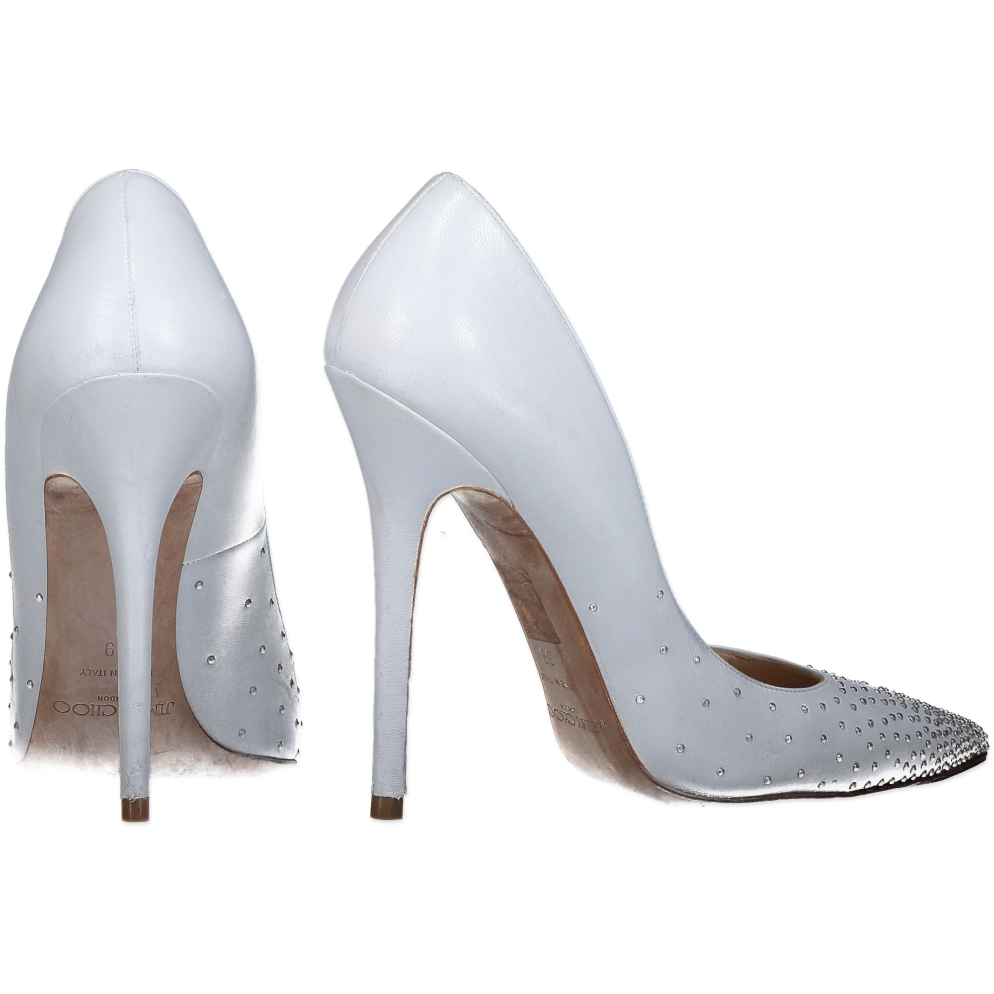 Jimmy Choo Anouk Heels White Nappa Leather Silver Studs - SIZE 39