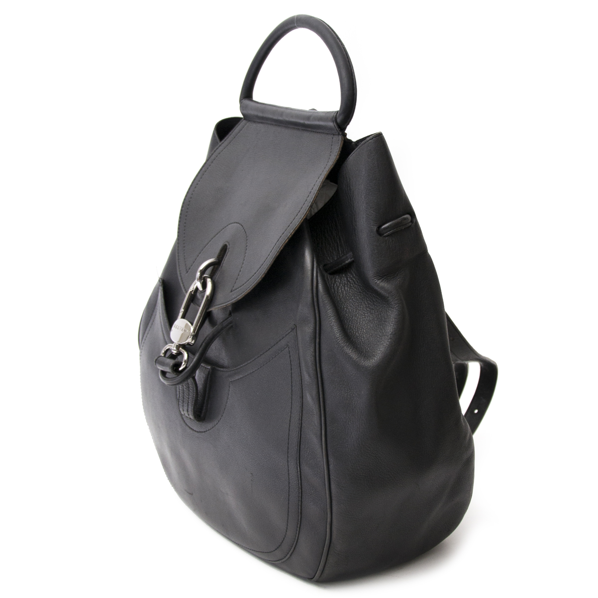 koop veilig online jou tweedehands Delvaux All Black Leather Lucifer GM