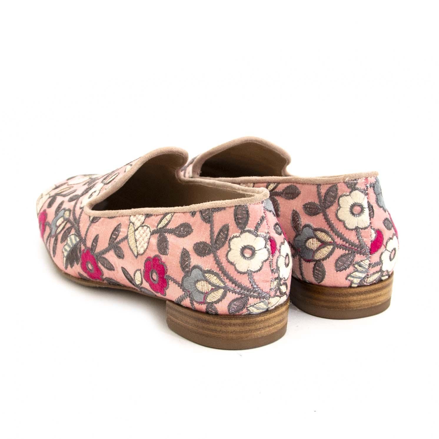 Stuart Weitzman Pink Flower Loafers