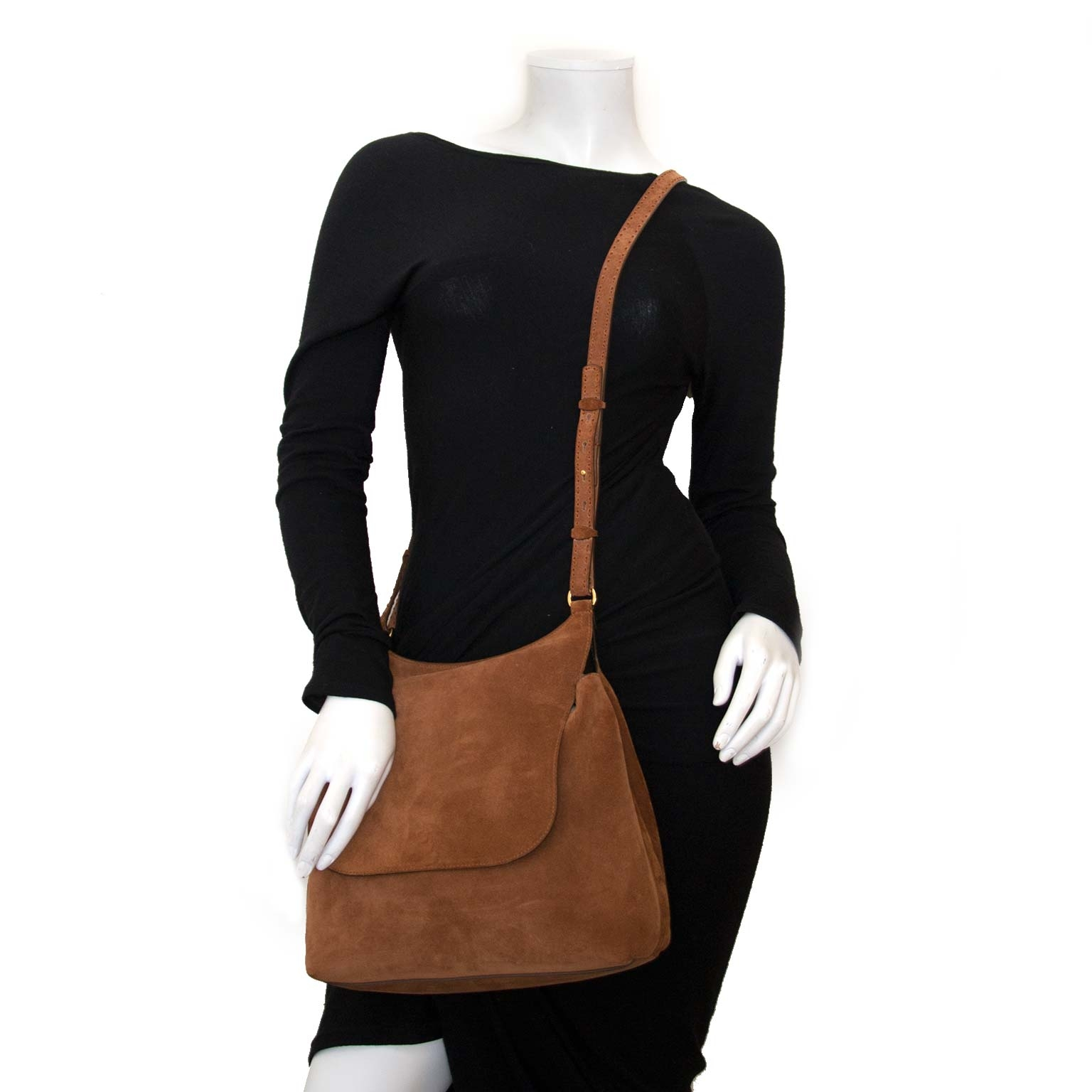 the row sideby suede shoulder bag now for sale at labellov vintage fashion webshop belgium