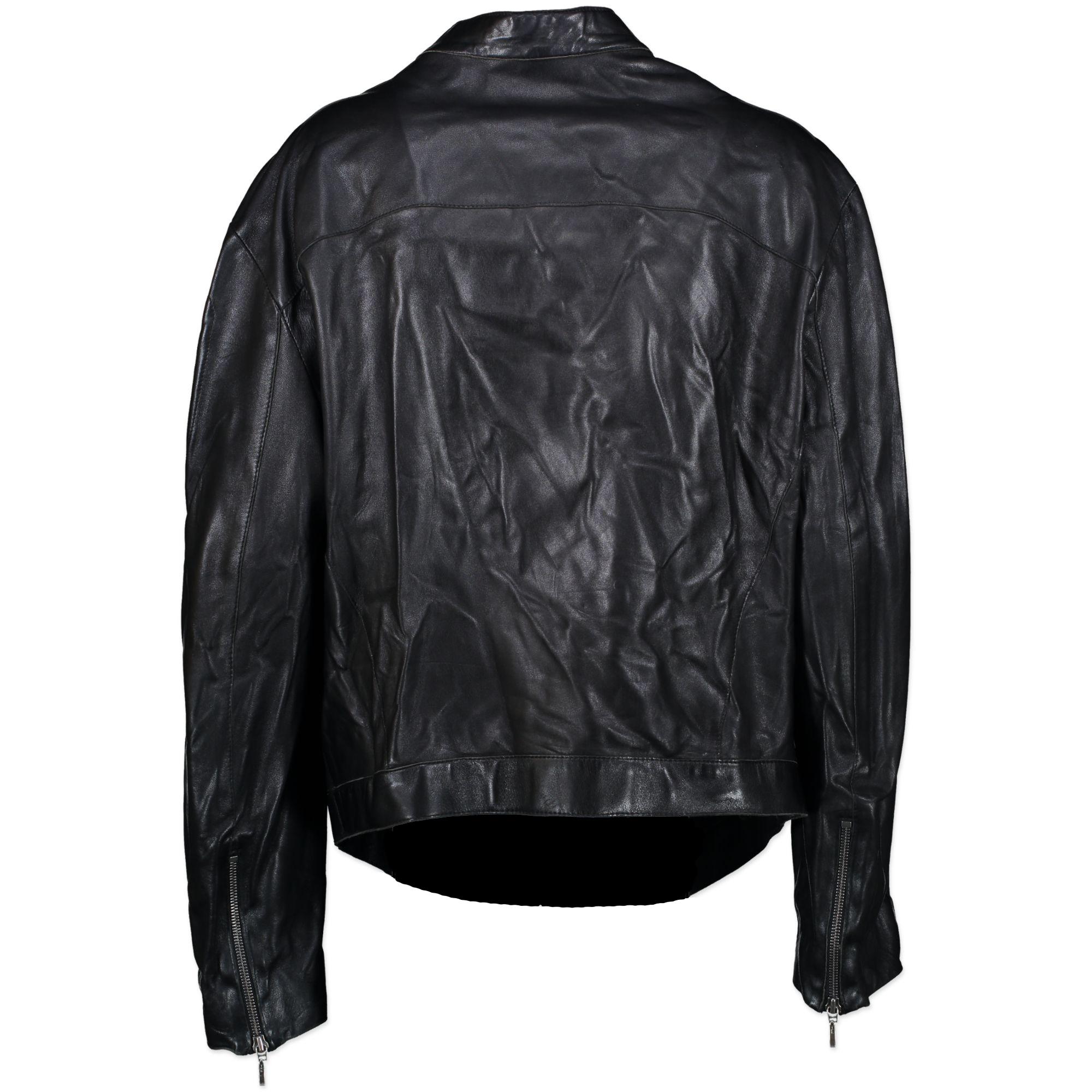 Thierry Mugler Black Leather Jacket - SIZE TU. Koop tweedehands Thierry Mugler online bij LabelLOV