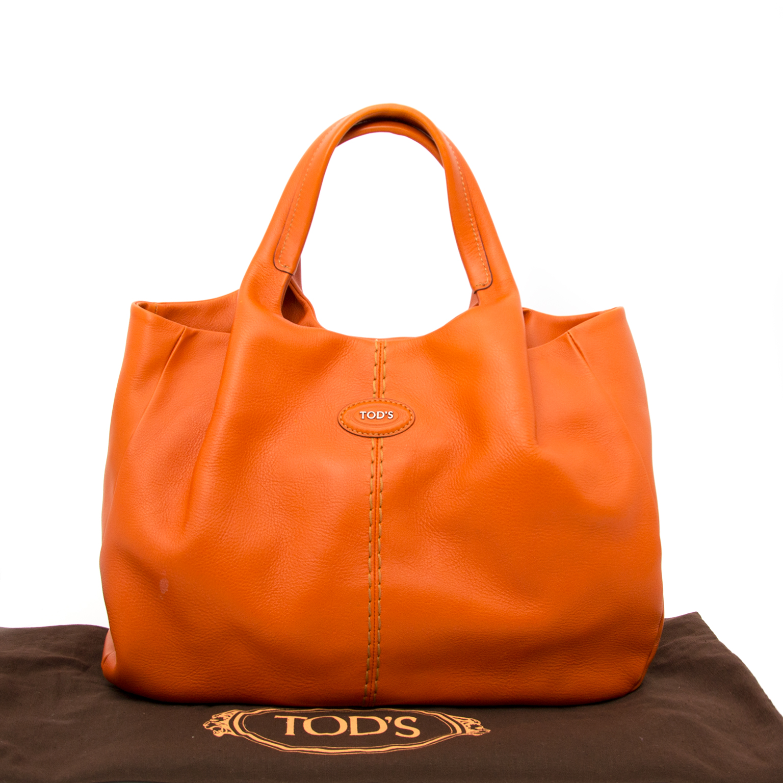 Buy a secondhand Tod's 24h Shopping Media Orange Leather Tote online