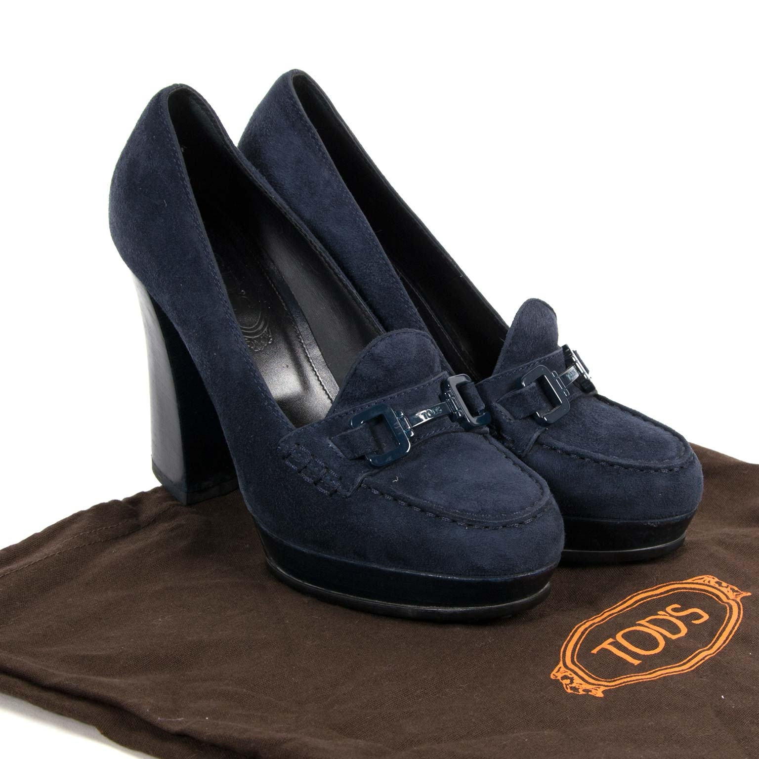 tods blue suede horsebit loafer style pumps now for sale at labellov vintage fashion webshop belgium
