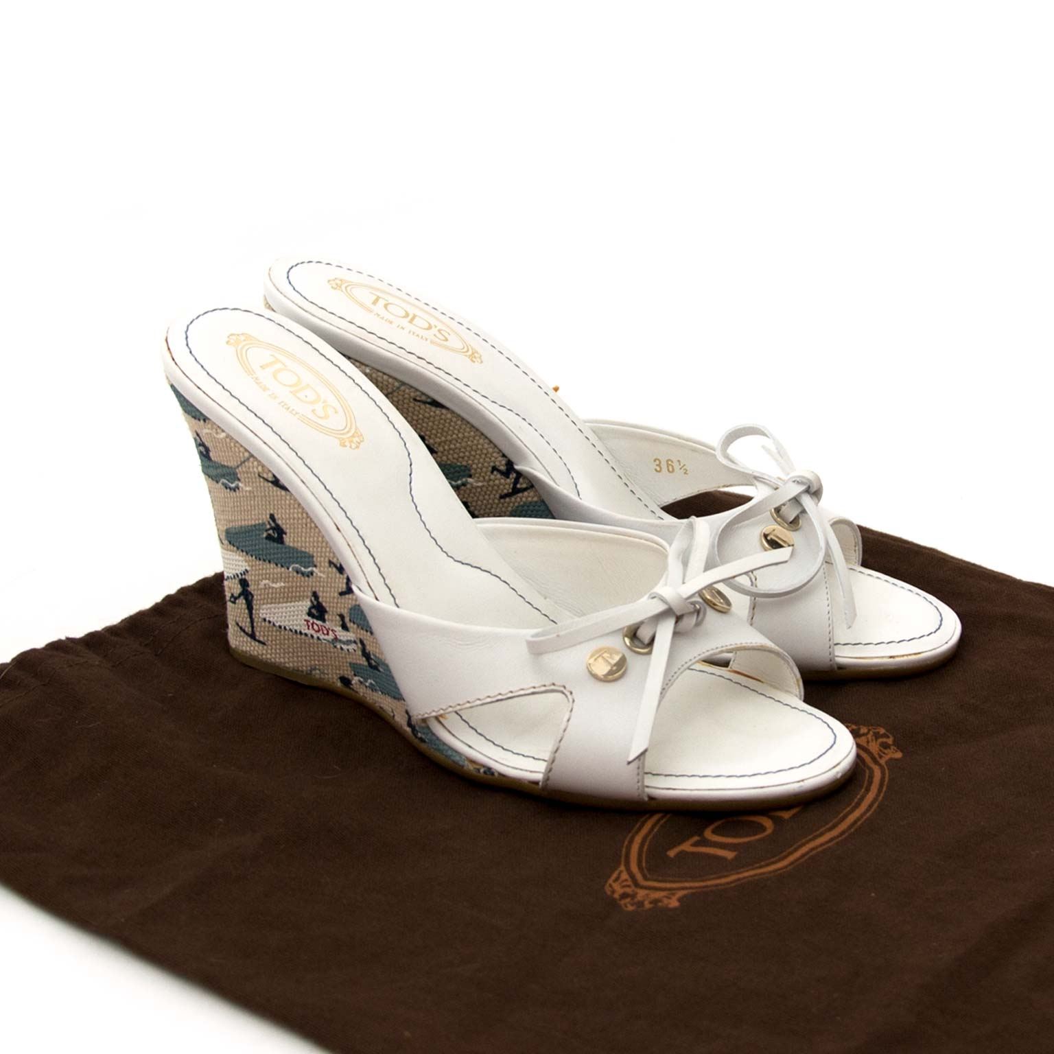 Tods White Sandal Wedges now online at labellov.com for the best price