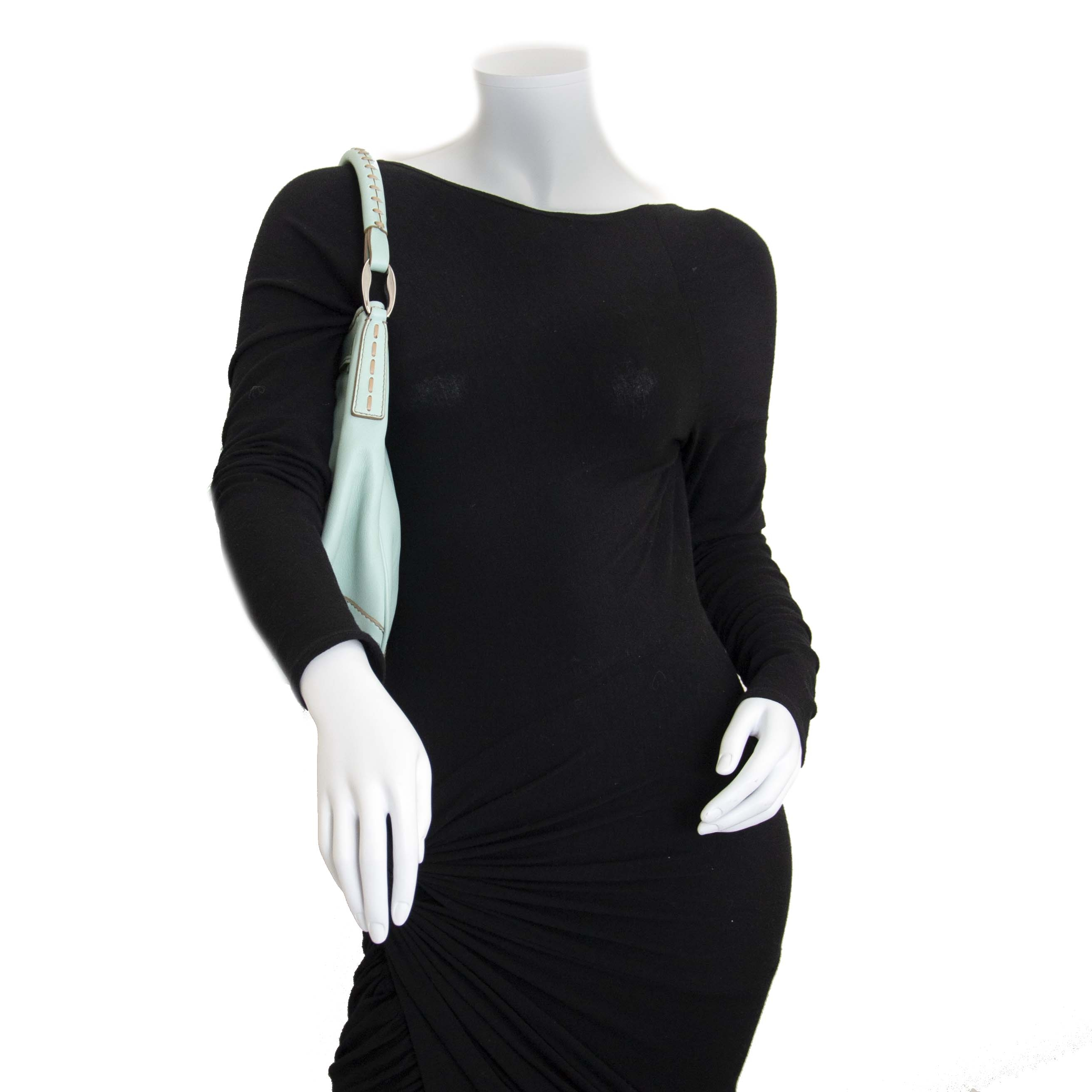 Tod's Pastel Green Shoulder Drawstring Bag now for sale at labellov vintage fashion webshop belgium