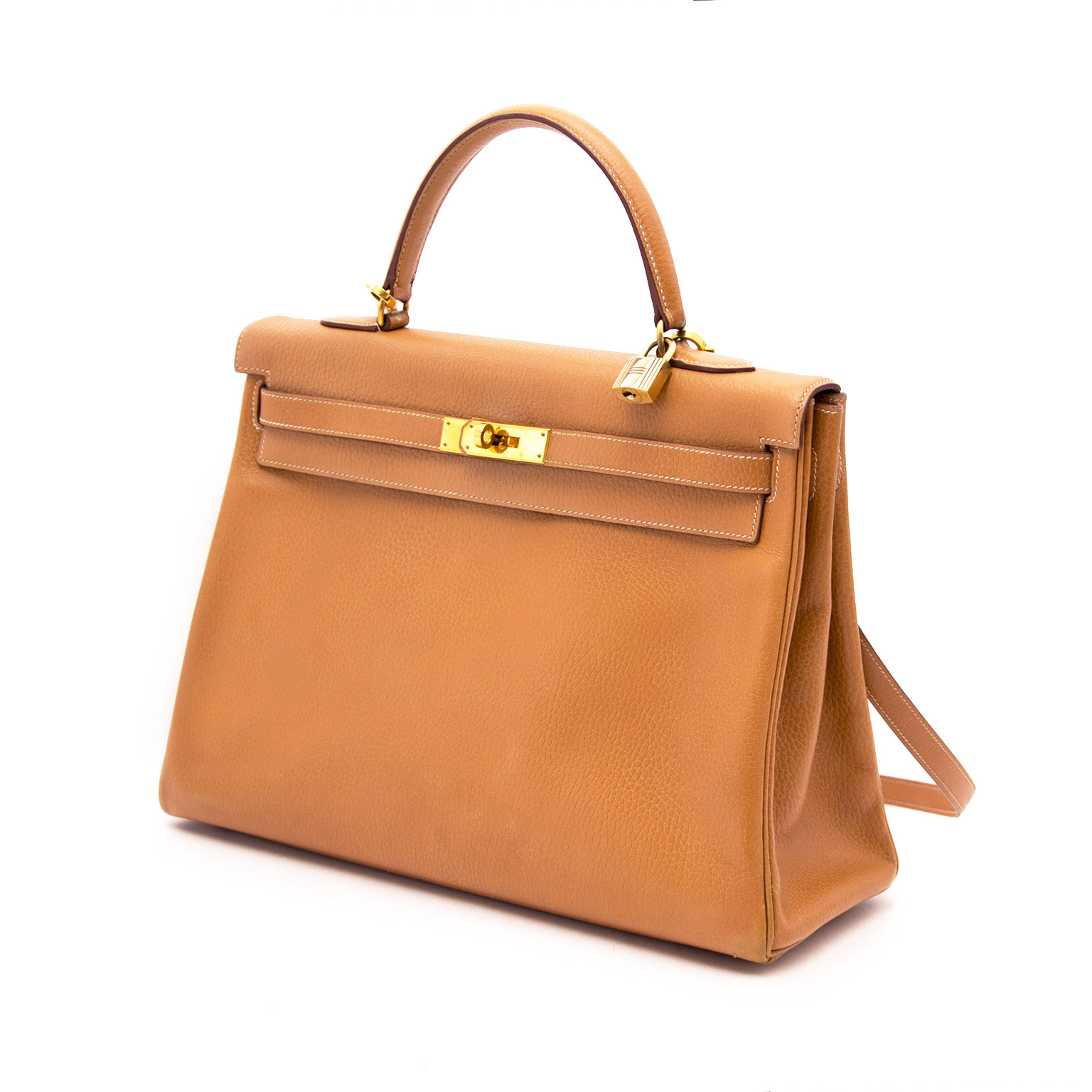 shop safe online Hermès Kelly Camel Vache Liegee 35cm GHW at the best price
