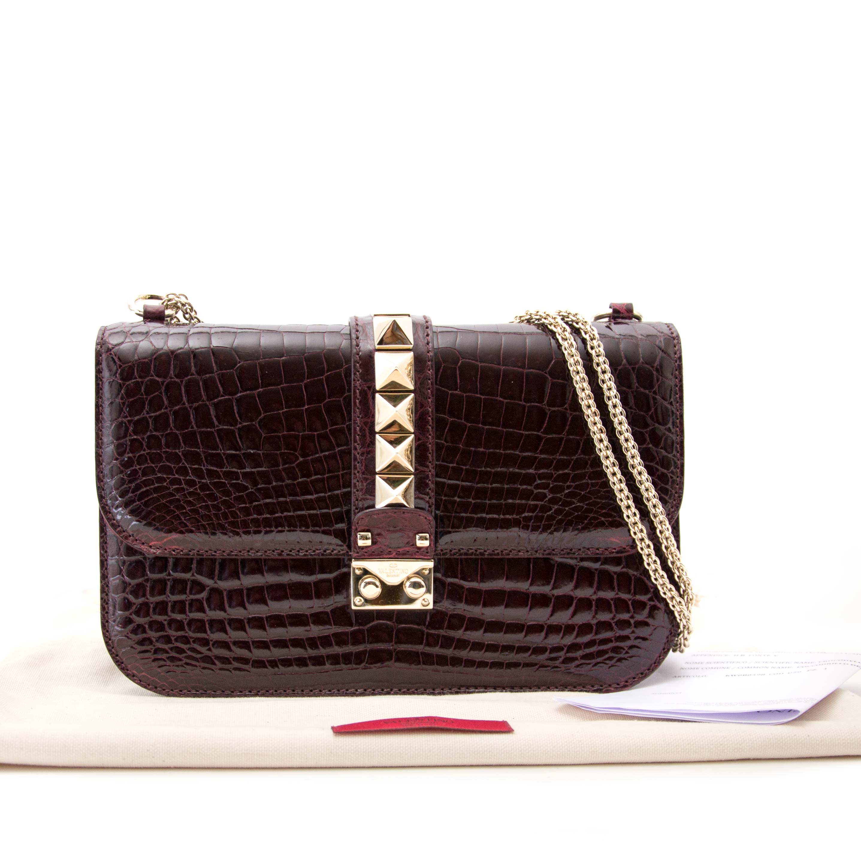 acheter en ligne seconde main Never Used Aubergine Valentino Rock Lock Medium Niloticus Crossbody Bag