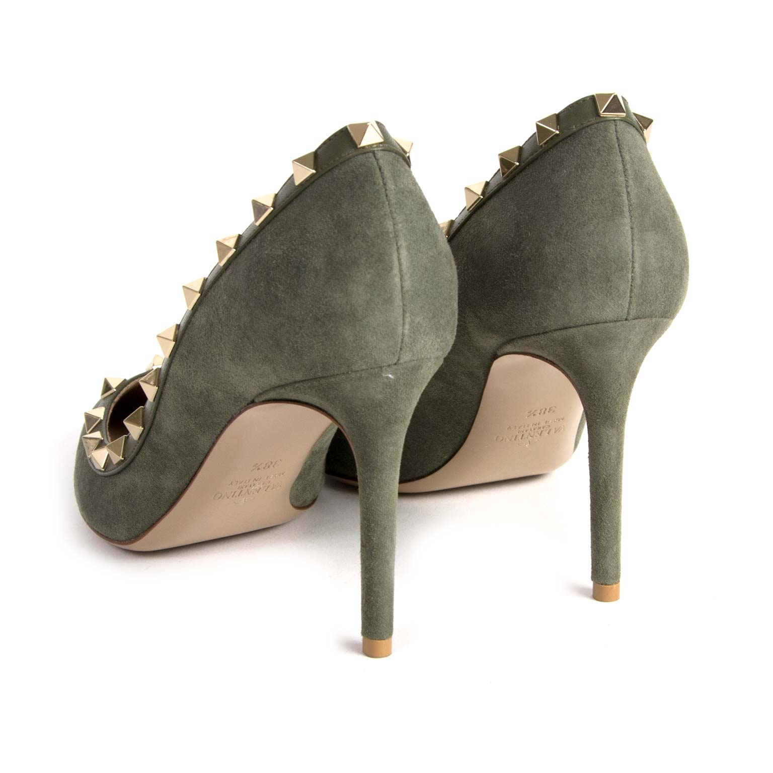 buy Valentino Khaki Suede Rockstud Pumps - Size 38,5 and pay save online at labellov.com