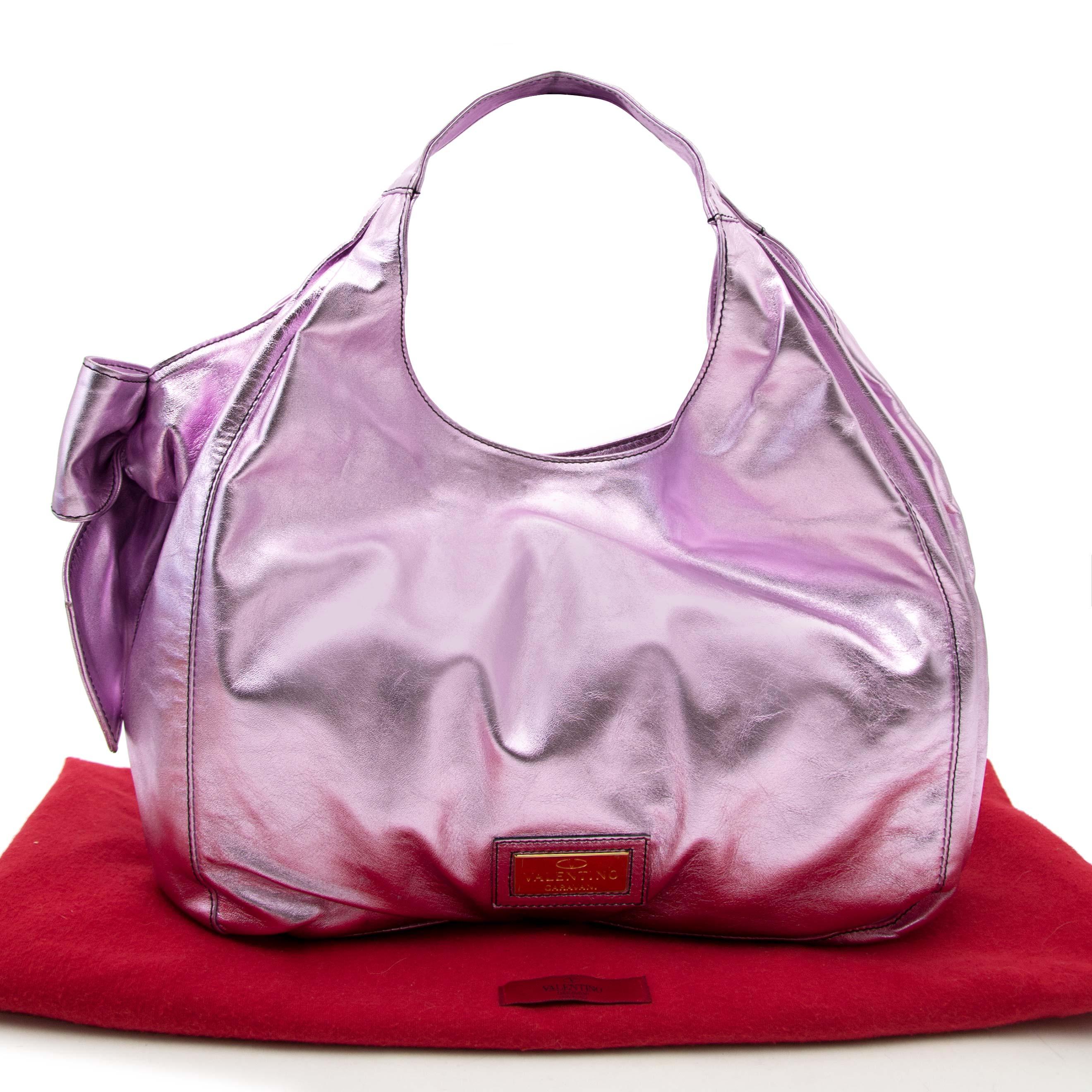Bent u op zoek naar een authentieke Valentino Metallic Pink Nuage Bow Tote?
