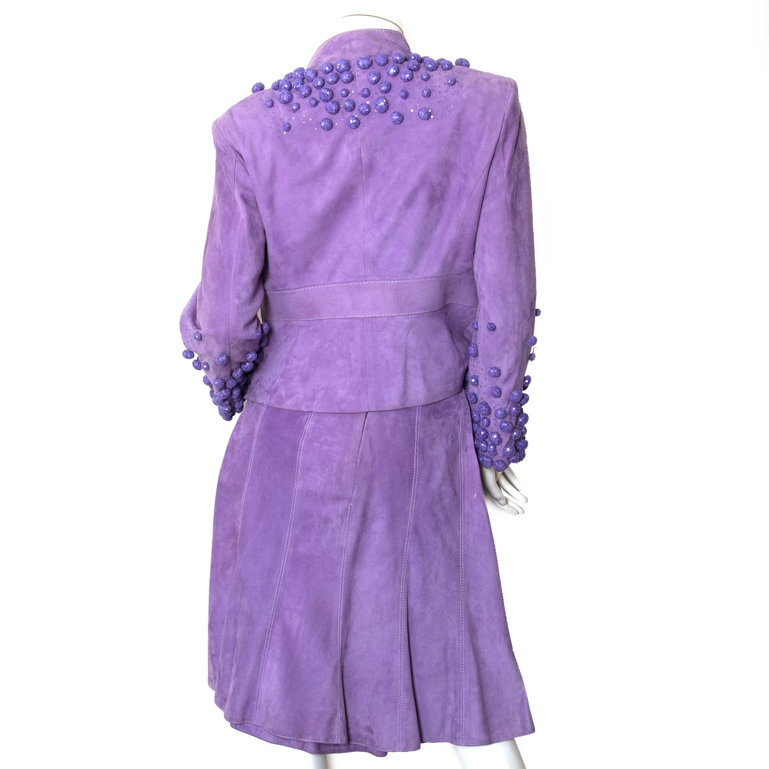 valentino purple suede skirt and blazer set now for sale at labellov vintage fashion webshop belgium