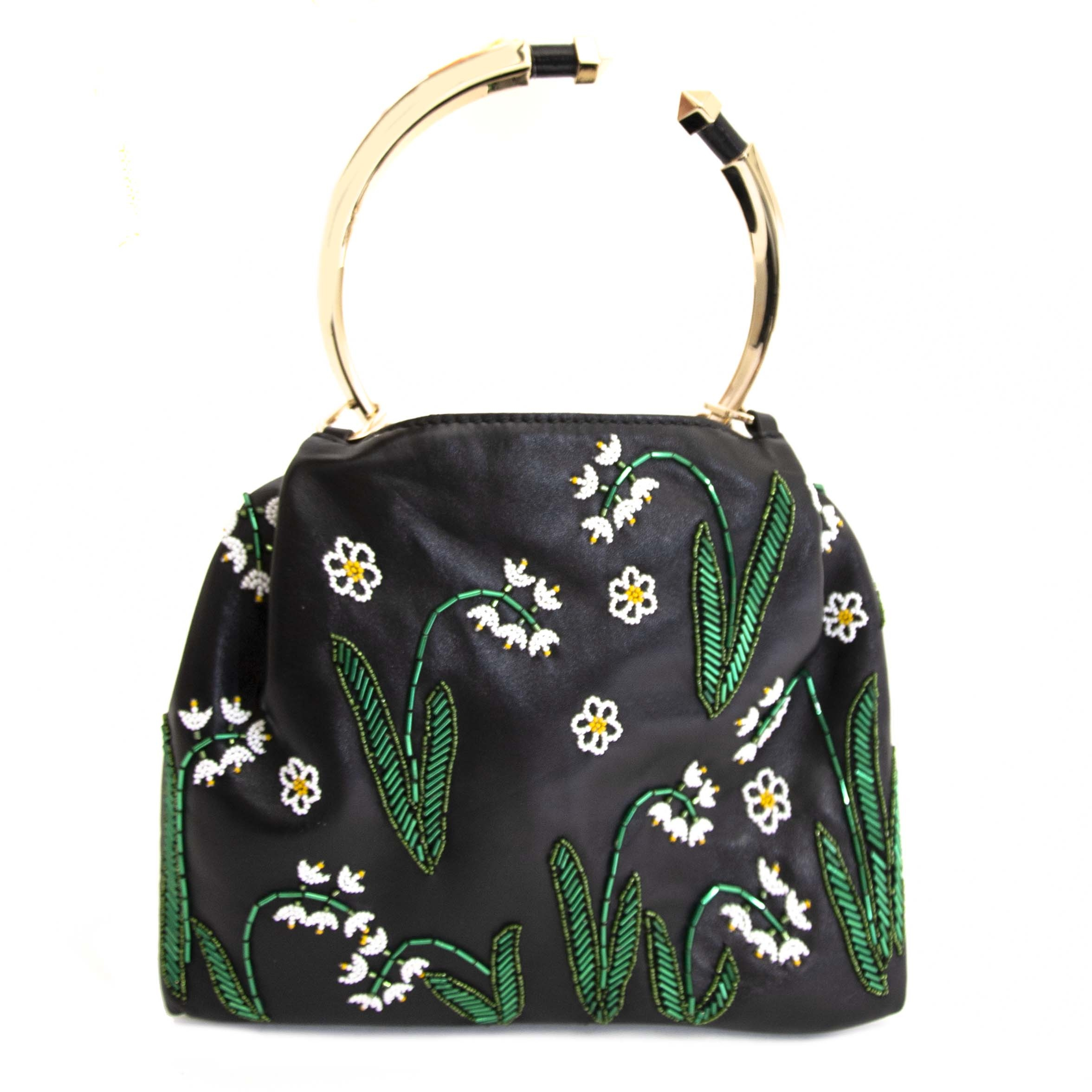 Buy authentic second hand Valentino Ring Handle Floral Embellished Bag at online webshop LabelLOV