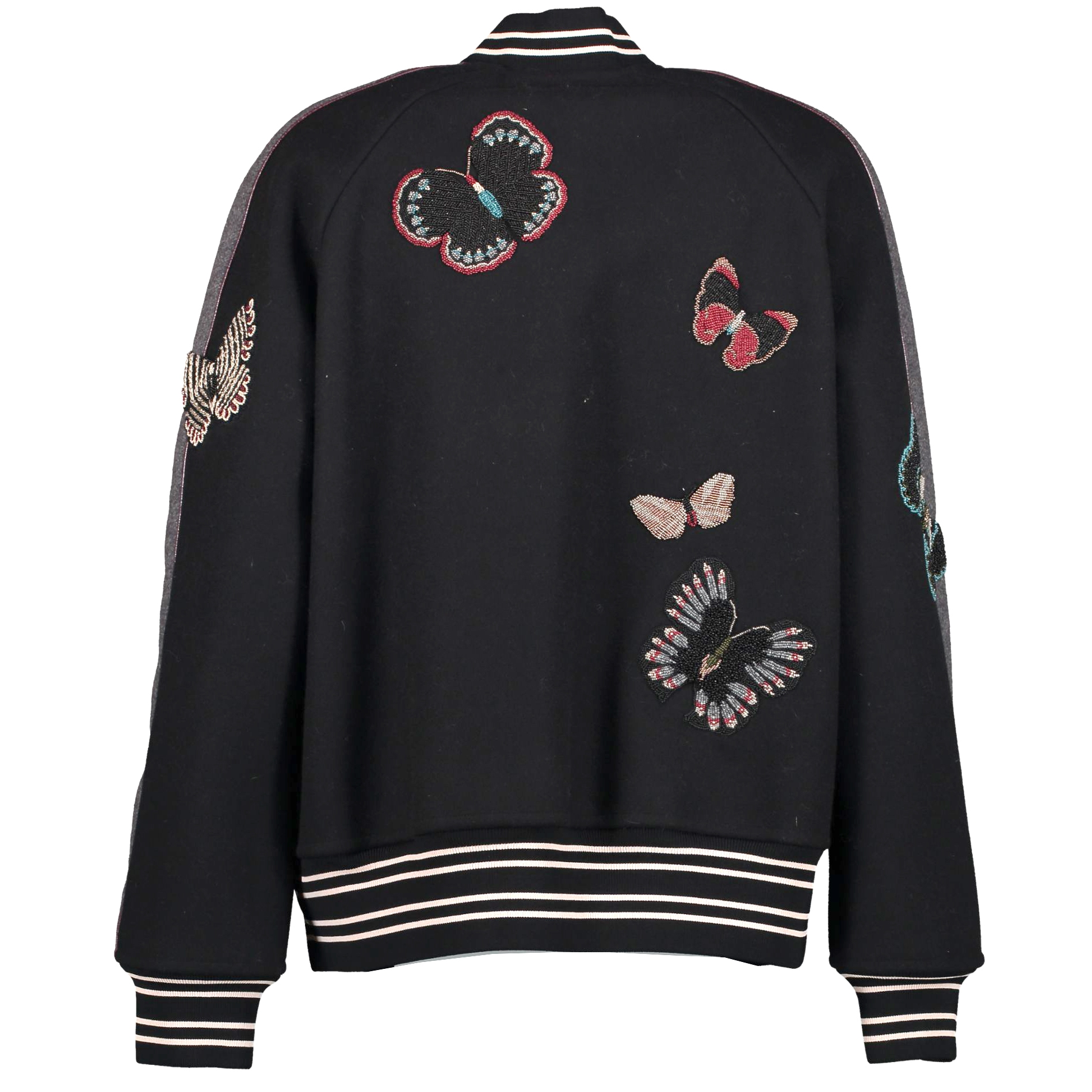 Valentino Black Wool Butterfly Patch Varsity Jacket - size IT42