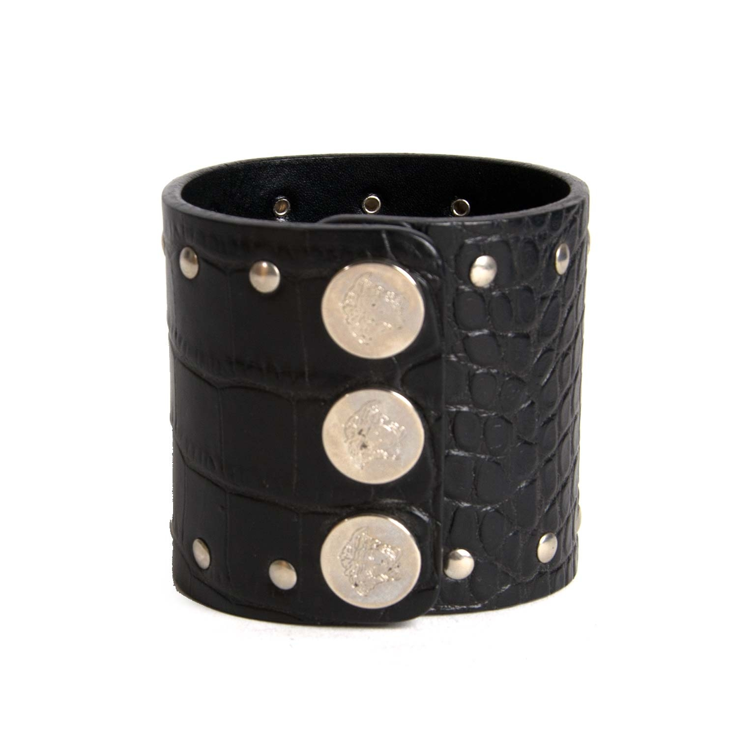 versace embossed croco medusa cuff now for sale at labellov vintage fashion webshop belgium