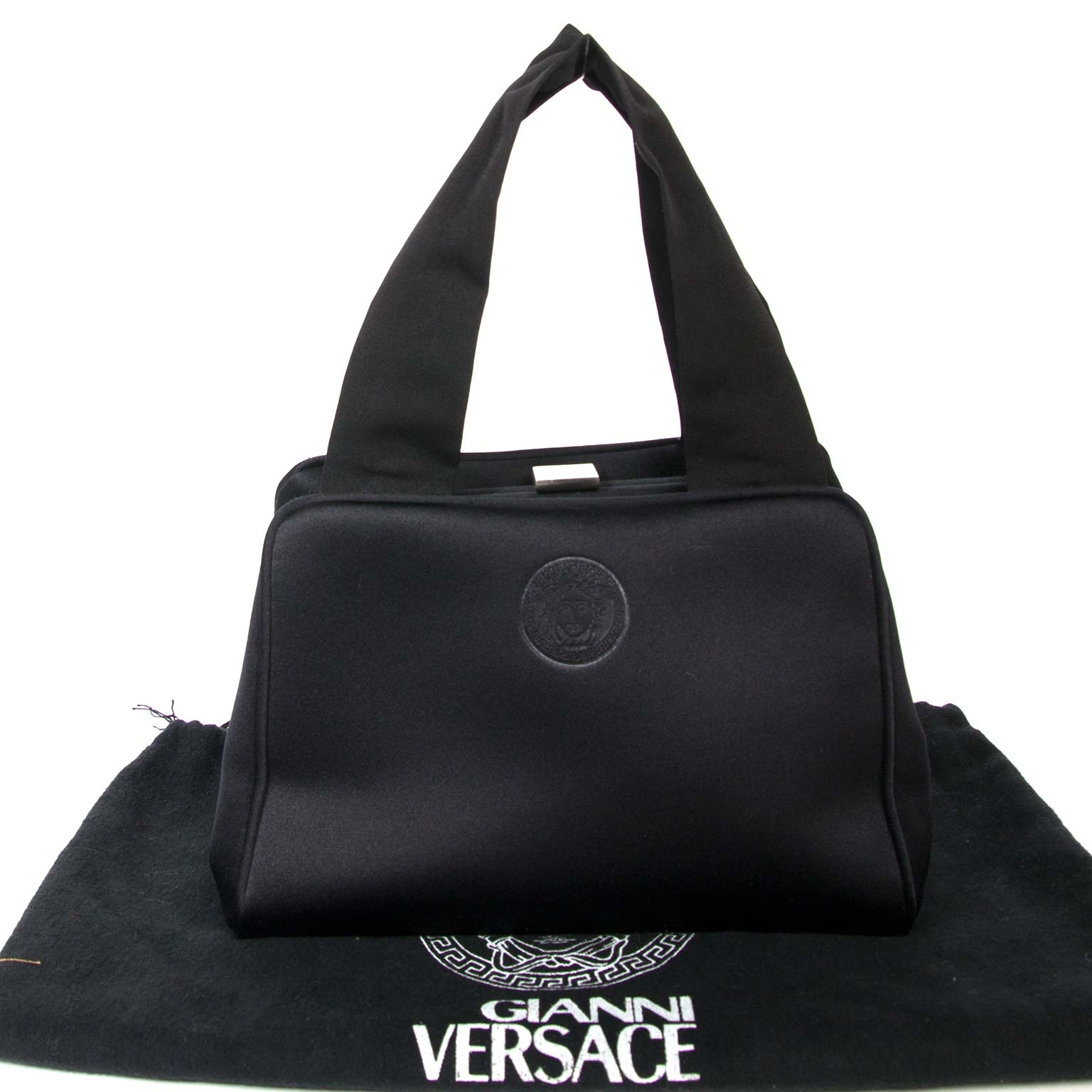 acheter en ligne seconde main Versace Small Black Satin Bag