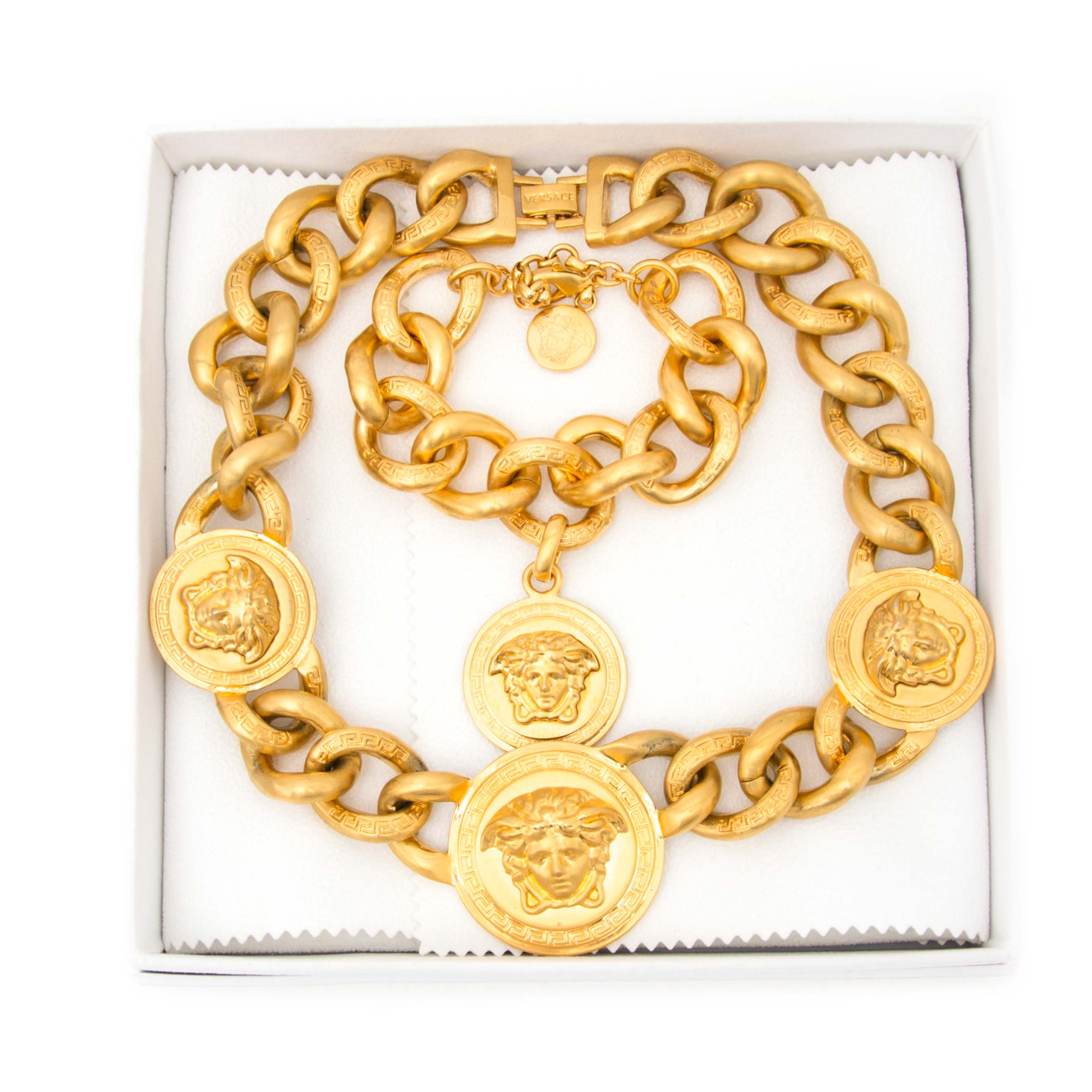 Versace Gold Medusa Chain Necklace + Bracelet for sale online