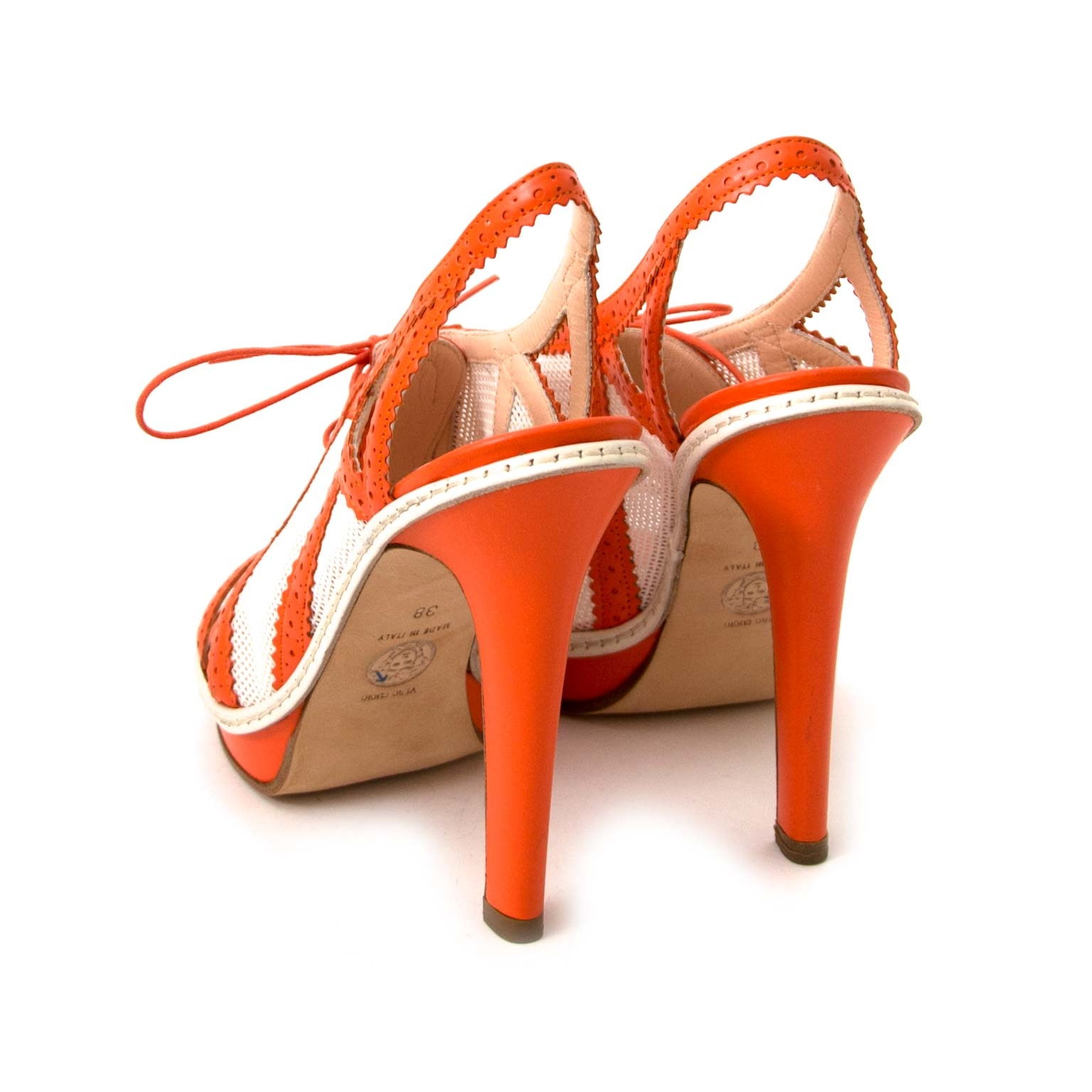 Versace Orange And White Canvas Leather Heeled Sandals online for sale at Labellov