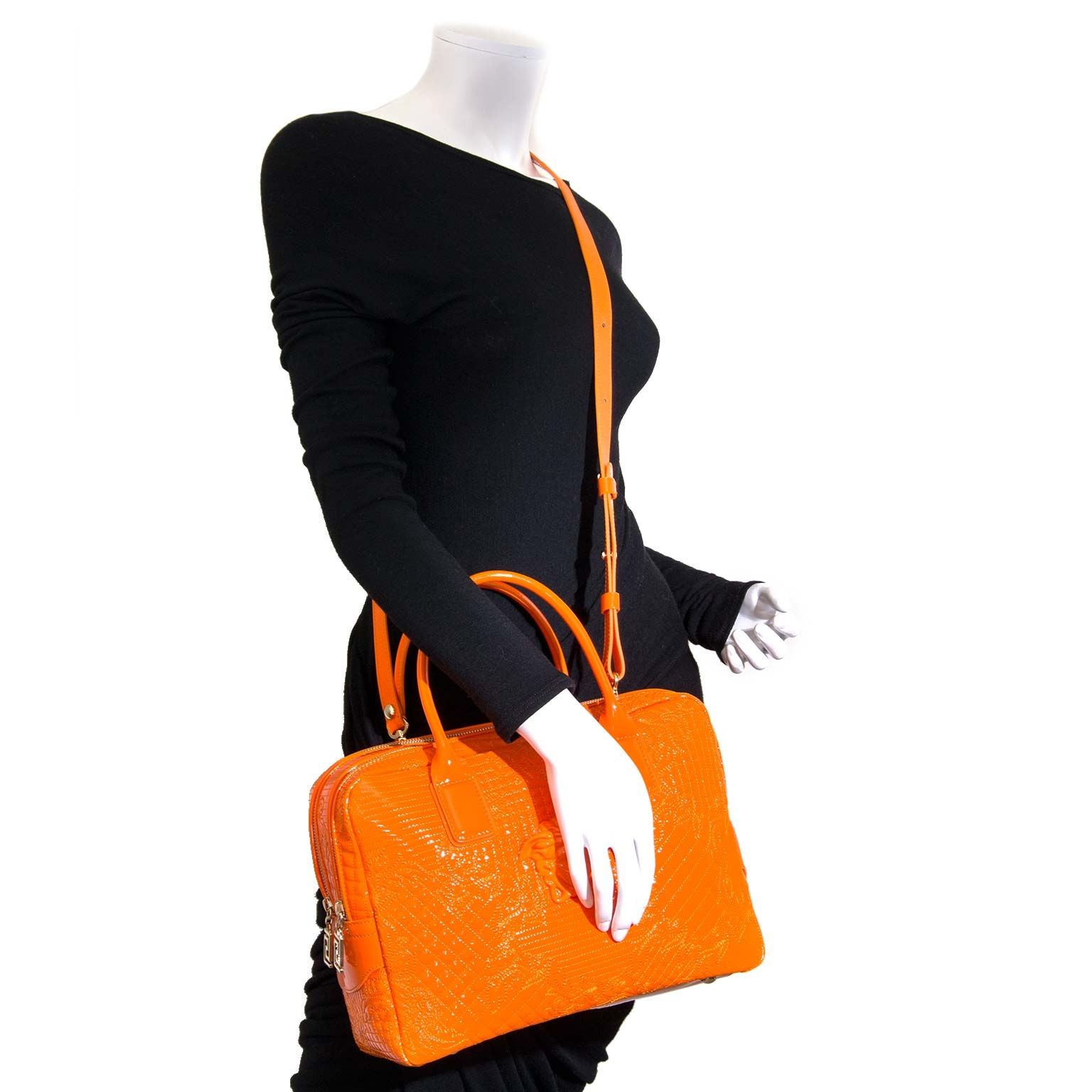 Versace Orange Patent Leather Bowling Bag for sale online at Labellov