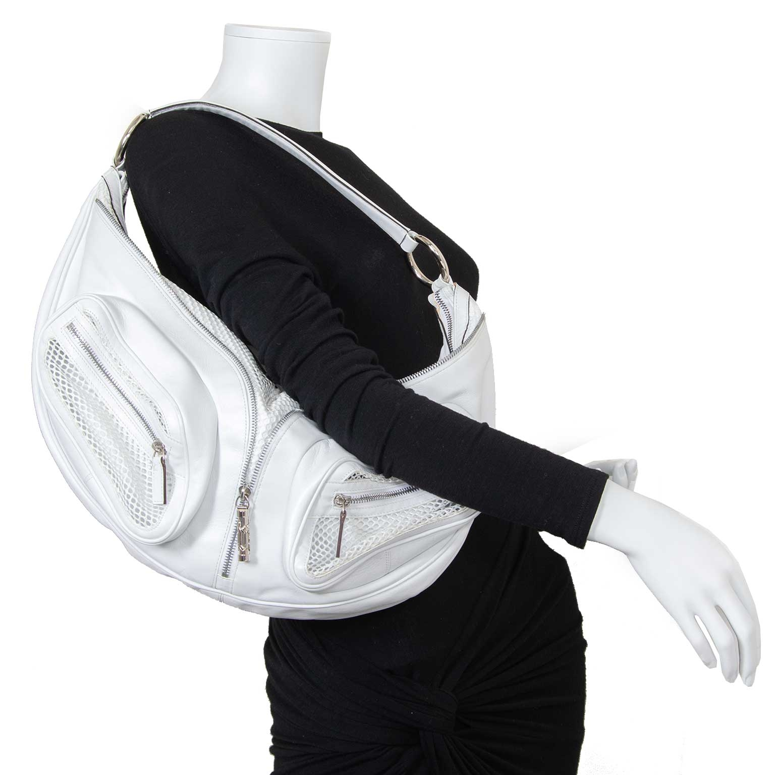 versace white biker bag now for sale at labellov vintage fashion webshop belgium