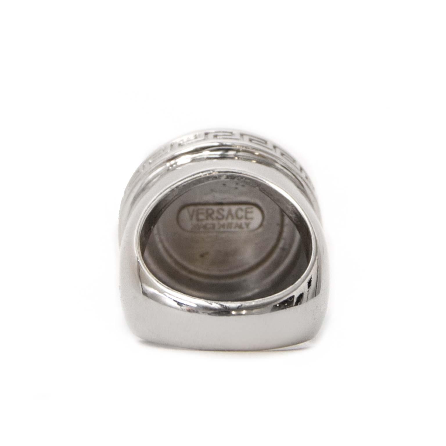 shop safe online Versace Silver Meduse Crystal Ring