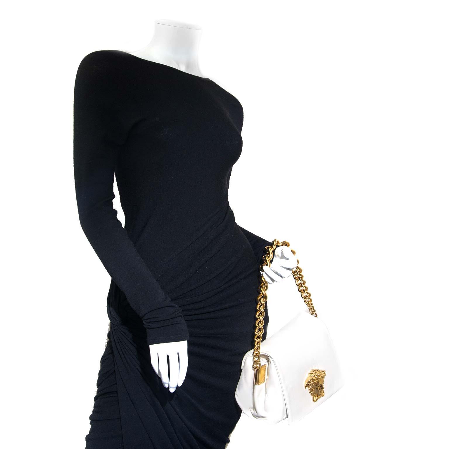 Versace Gold Medusa Cream Leather Shoulder Bag for sale online