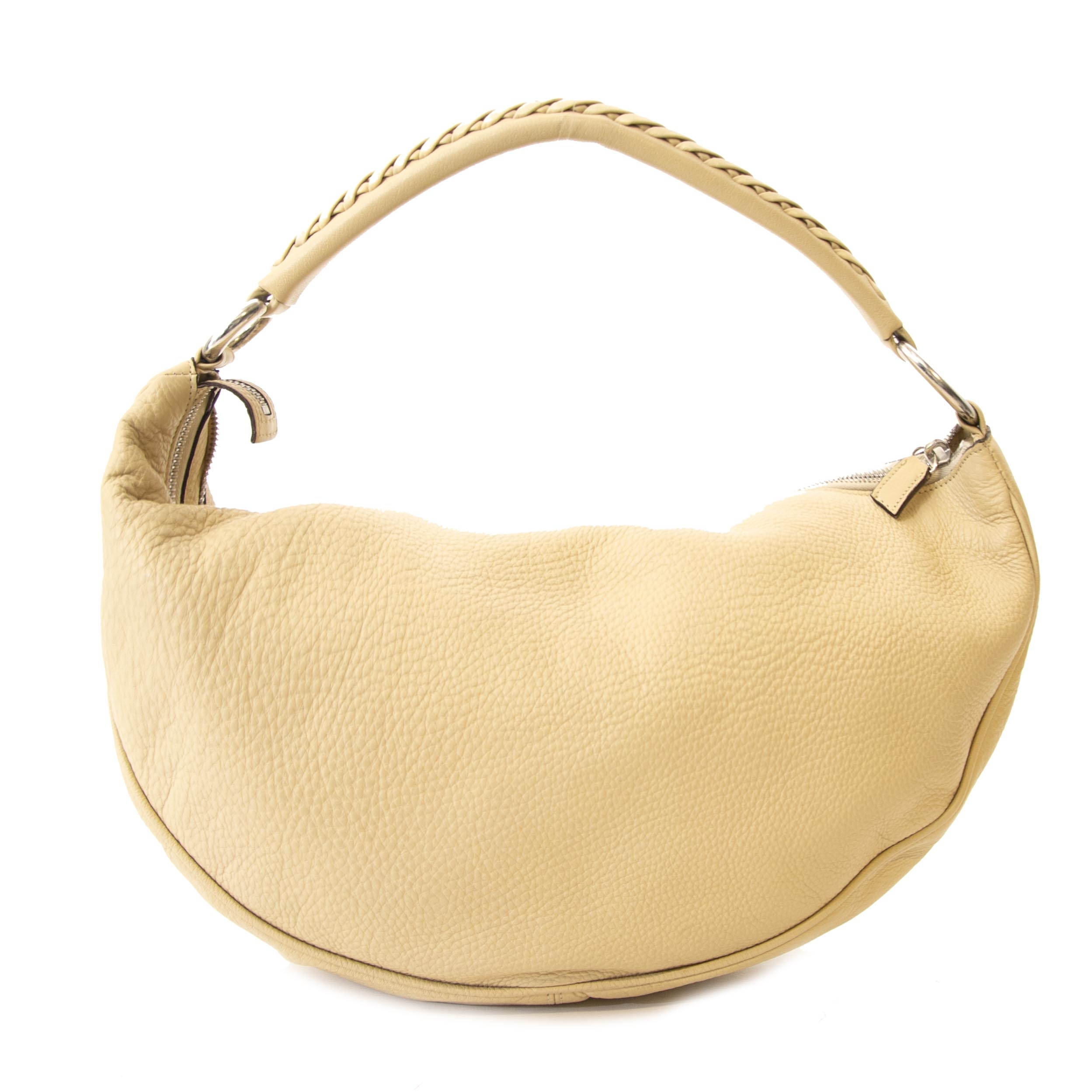 Authentic second hand vintage  Versace Ivory Half Moon Shoulder Bag buy online webshop LabelLOV