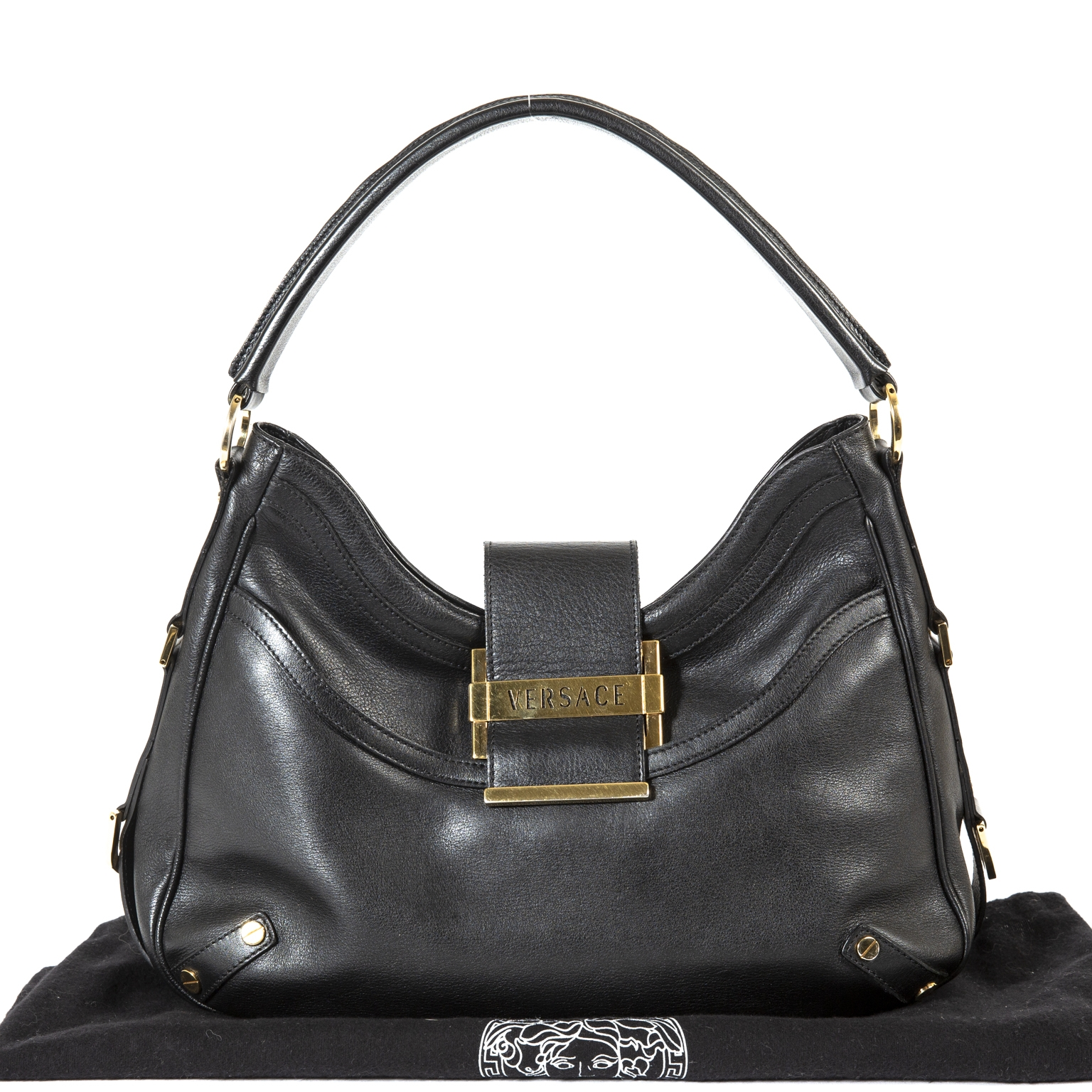 Versace Black Leather Shoulder Bag now for sale at labellov vintage fashion webshop belgium