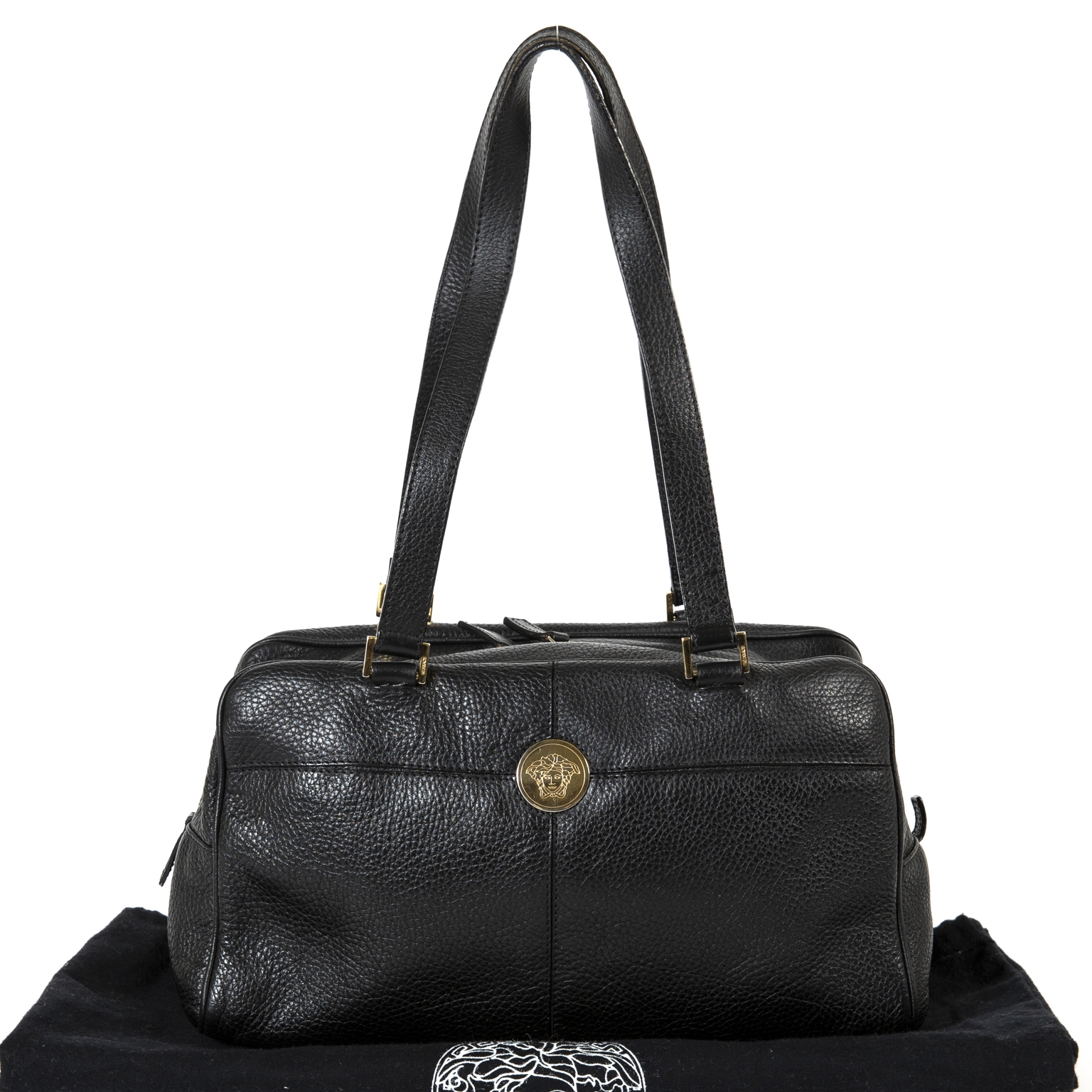 Versace Black Leather Medusa Shoulder Bag now for sale at labellov vintage fashion webshop belgium