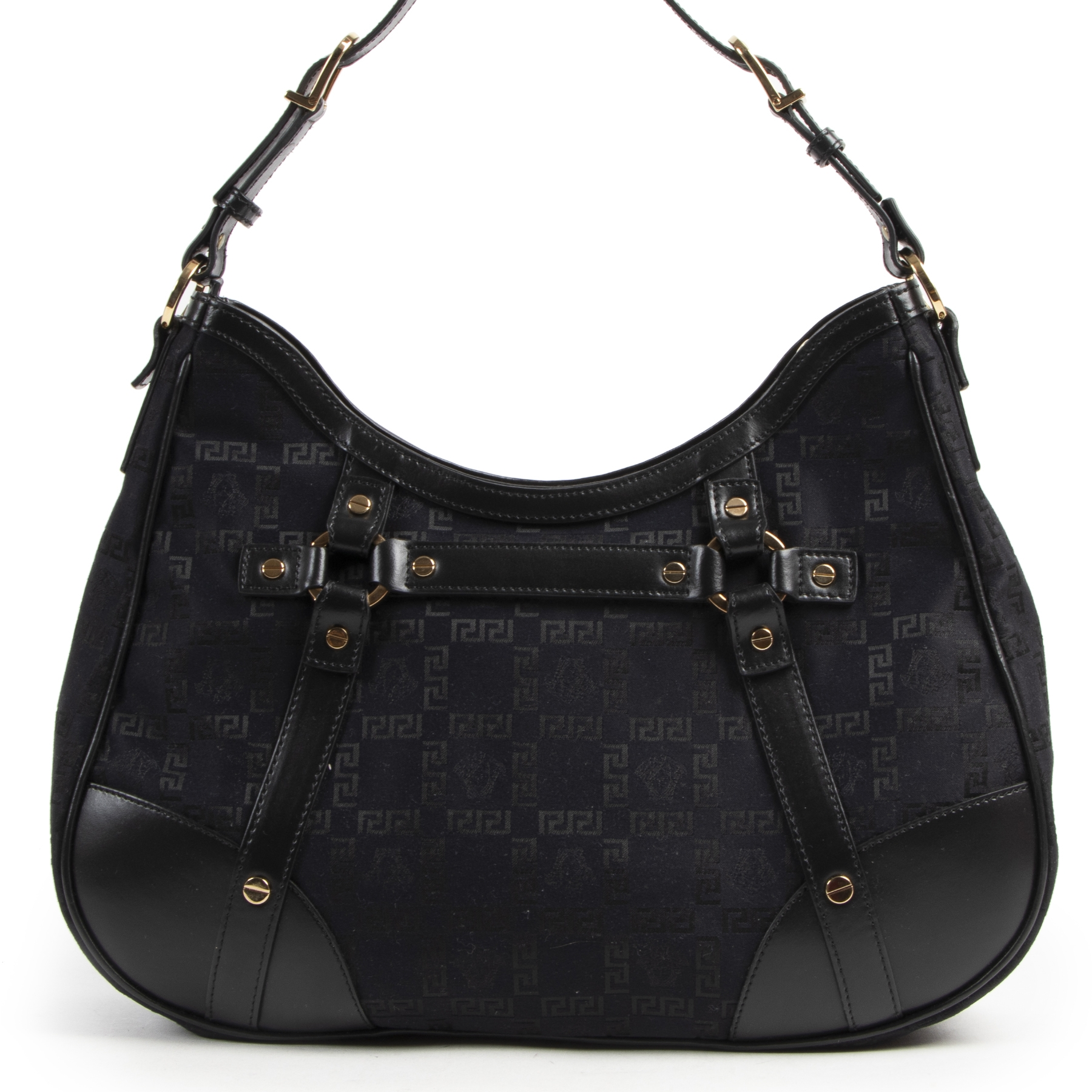 Versace Black Fabric Medusa Shoulder Bag we buy and sell your designer dream bag
