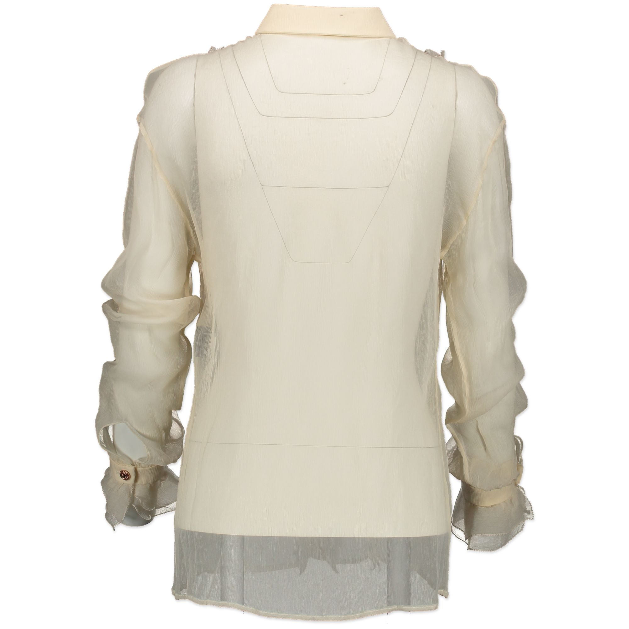 Versace White See Through Blouse