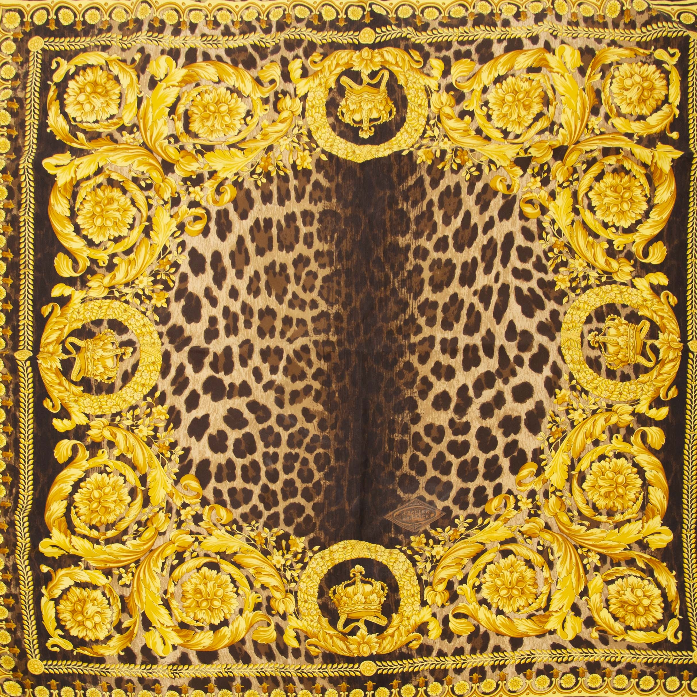 88cf555e45 Authentic second hand Versace Scarf Leopard Print With Golden Details buy  online LabelLOV Authentieke tweedehands Versace Scarf Leopard Print With  Golden ...